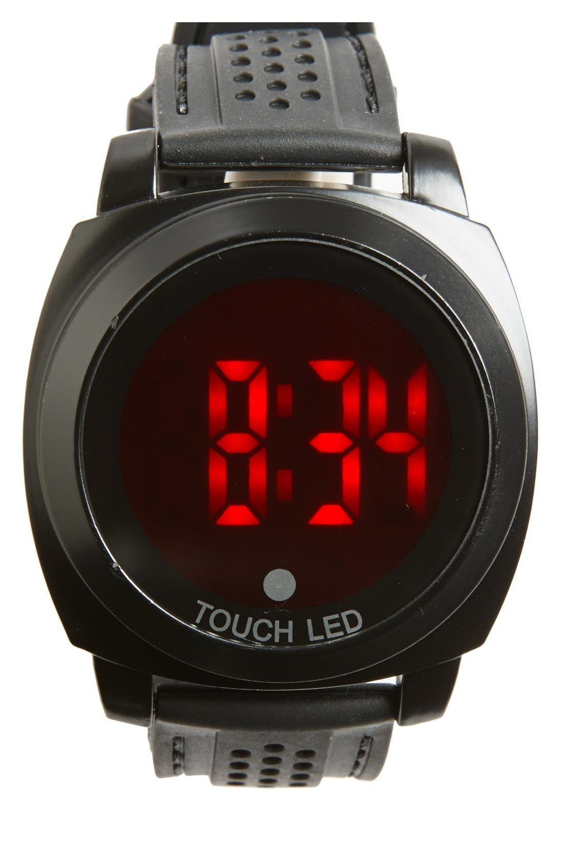 Touch LED Digital Silicone Strap Watch, 50mm,                             Main thumbnail 1, color,                             001