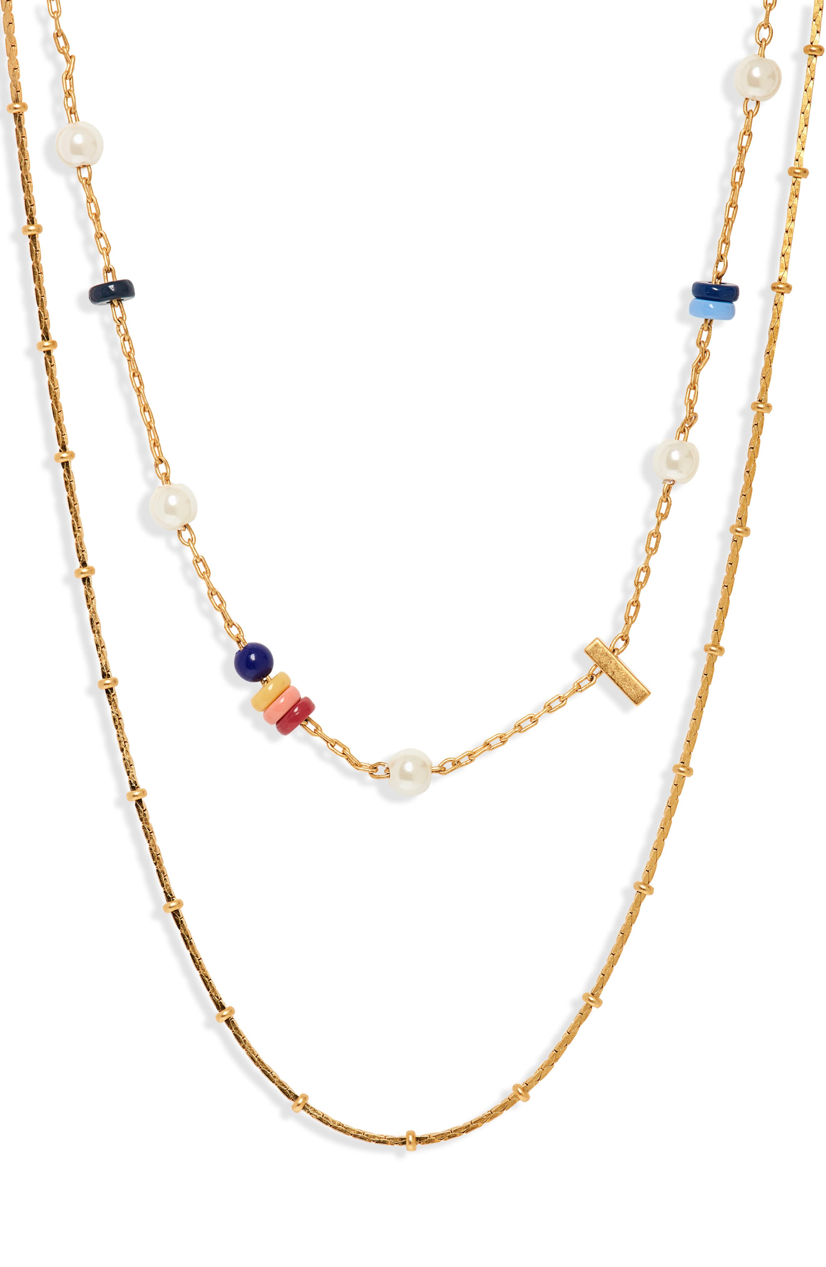 Beaded Imitation Pearl Necklace Set,                         Main,                         color, CLASSIC PEARL