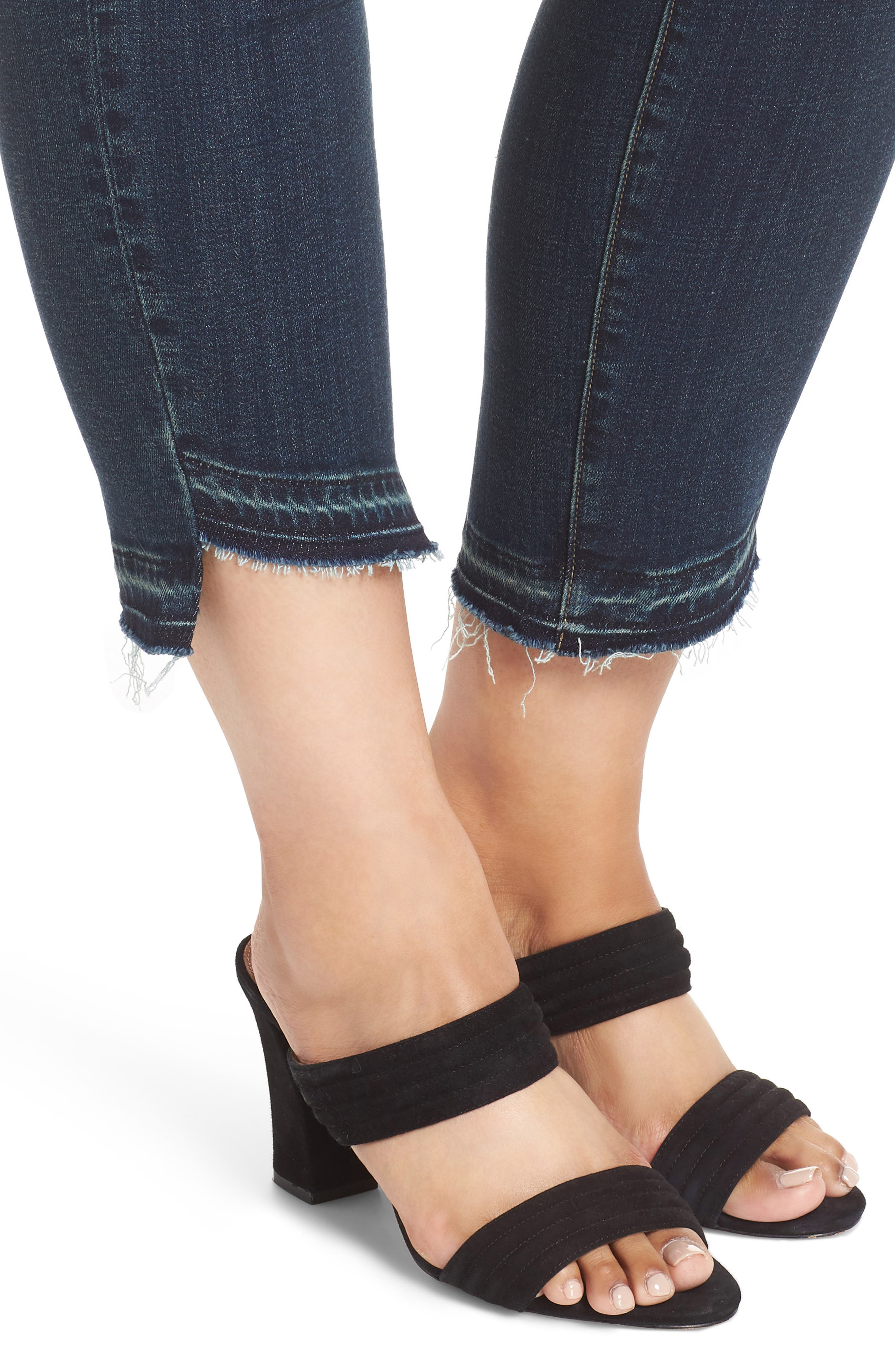Indigo Curve Hem Skinny Jeans,                             Alternate thumbnail 4, color,                             DARK AUTHENTIC