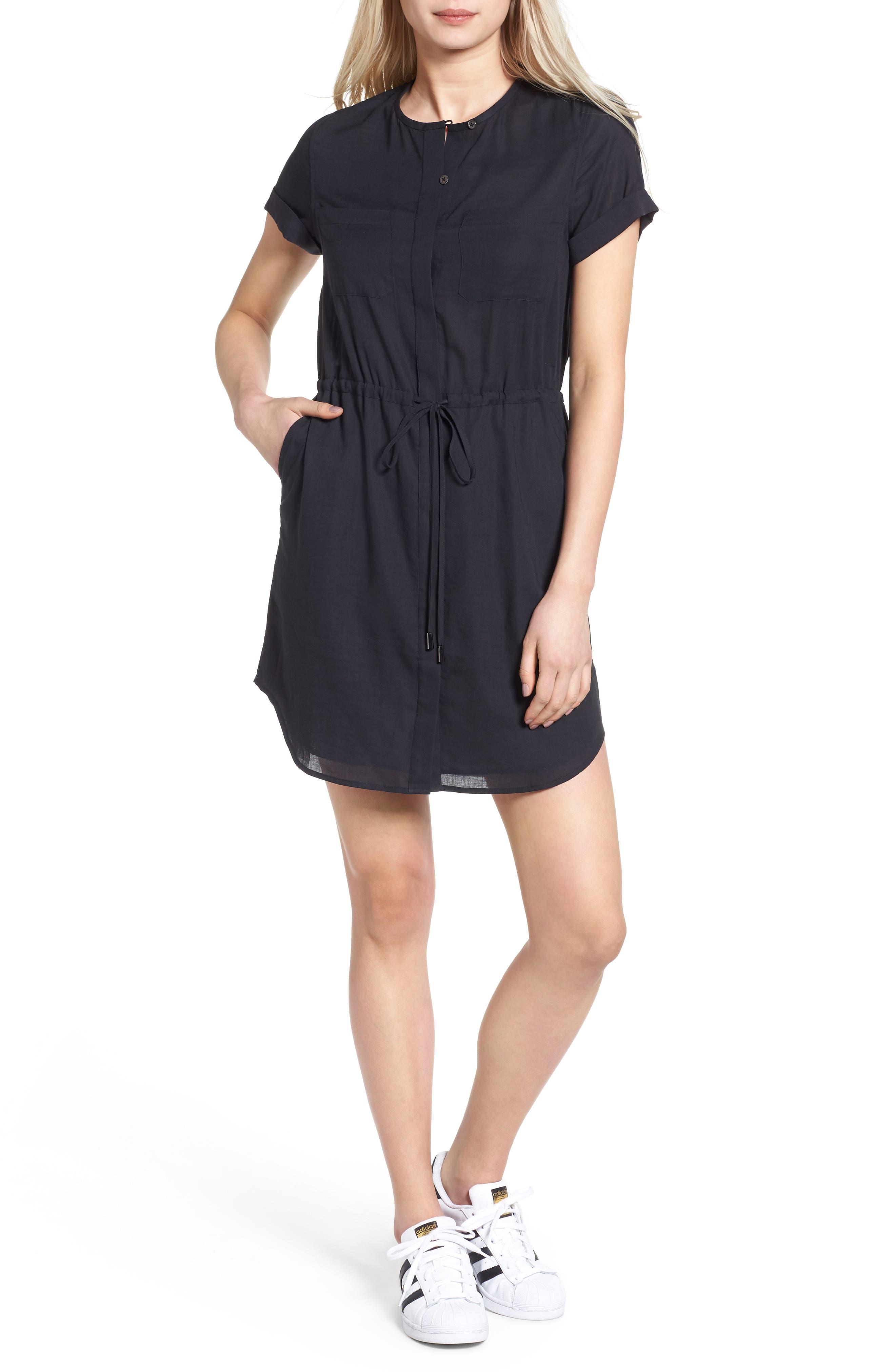 Lima Collarless Shirtdress,                         Main,                         color, TRUE BLACK
