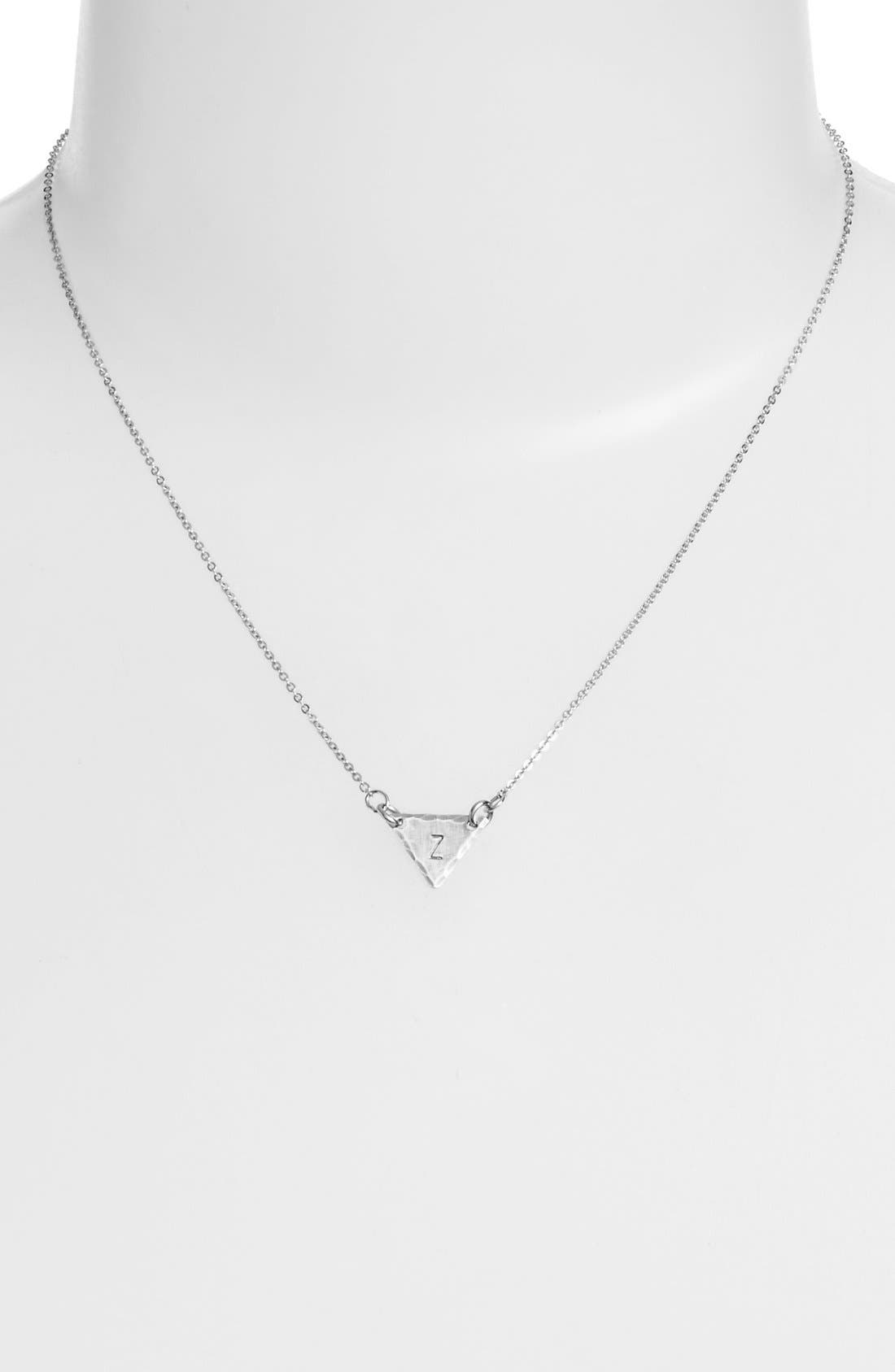 Sterling Silver Initial Mini Triangle Necklace,                             Alternate thumbnail 52, color,