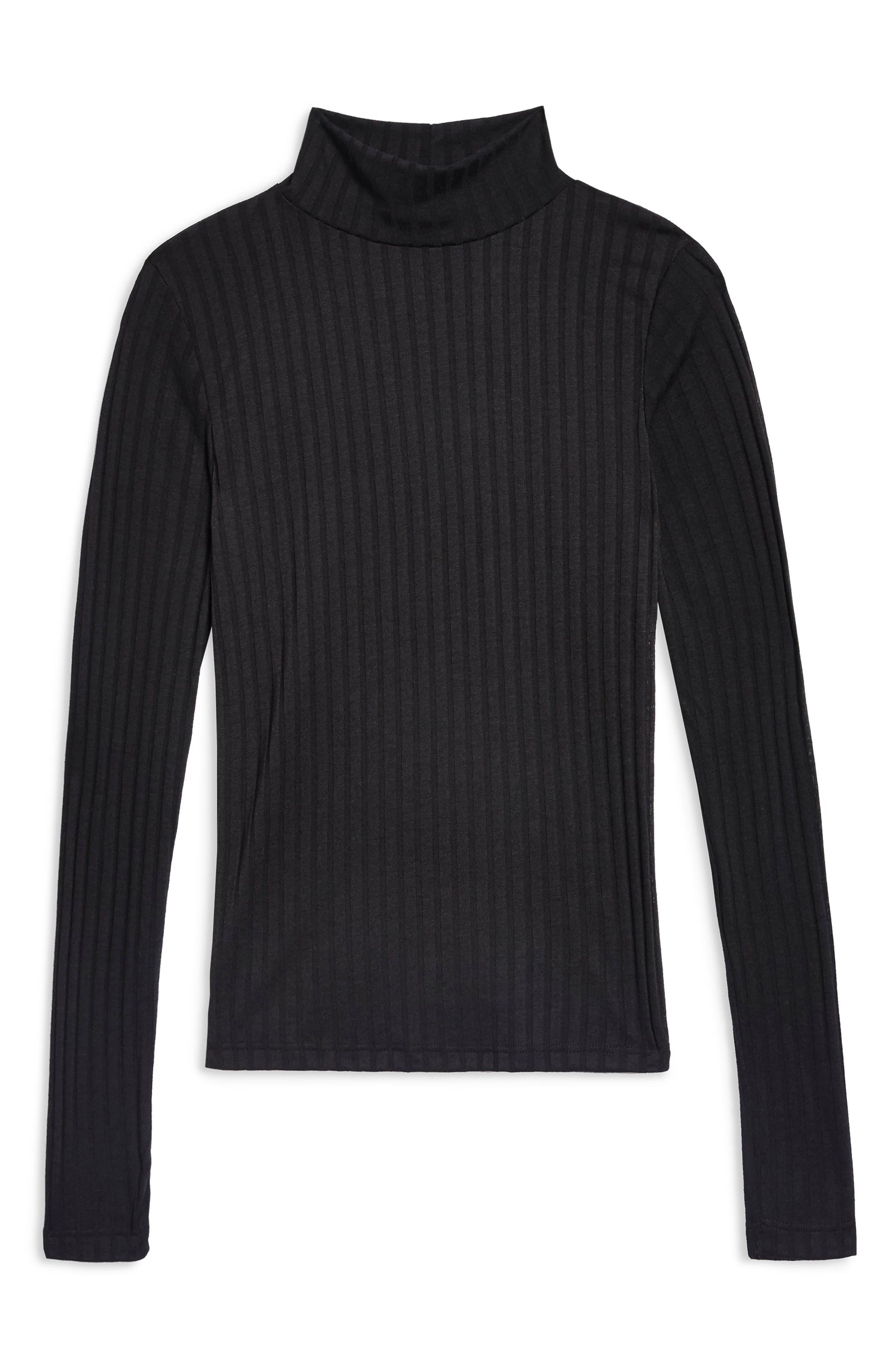 Funnel Neck Shirt,                             Alternate thumbnail 3, color,                             BLACK