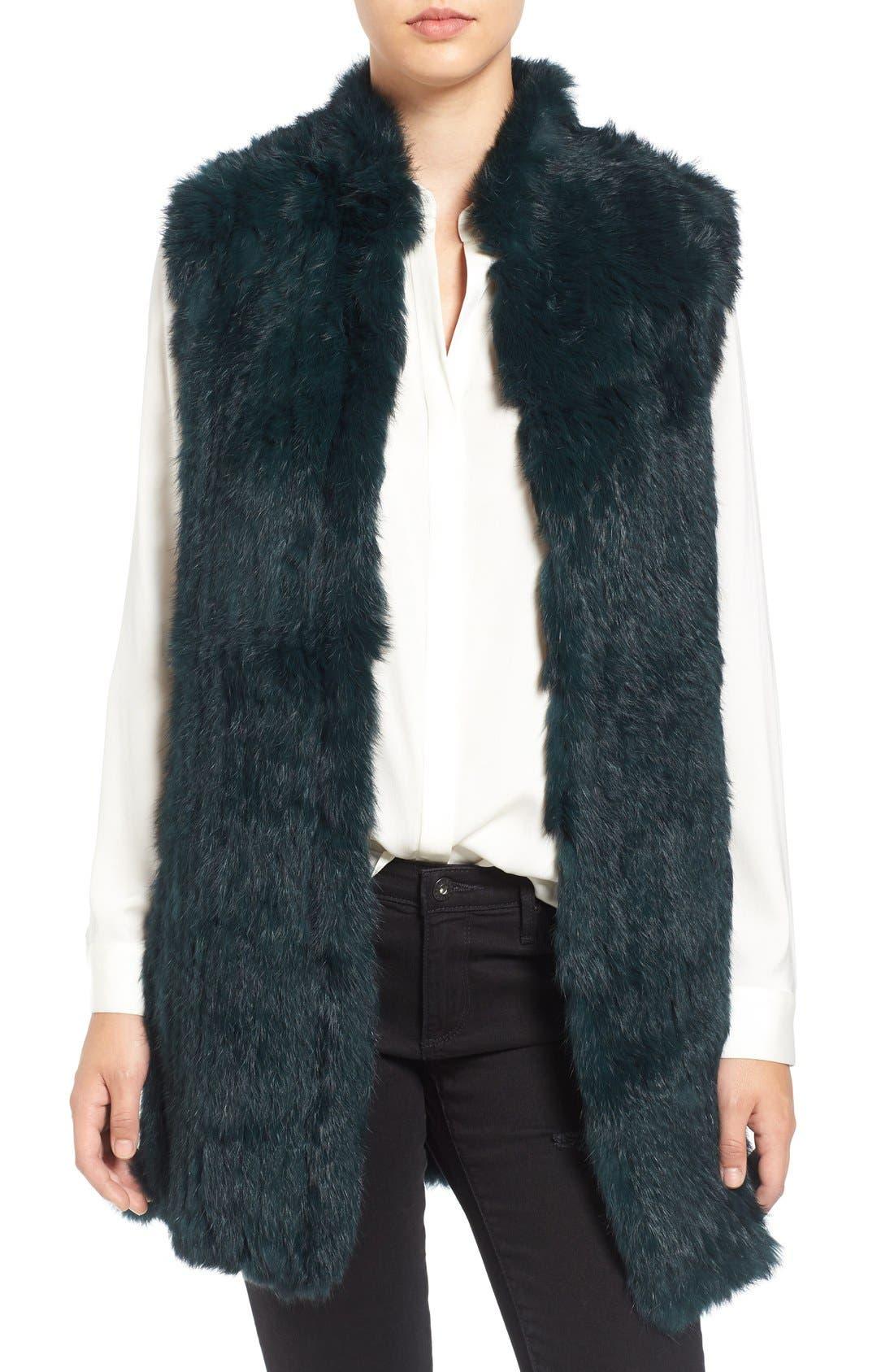 Genuine Rabbit Fur & Knit Vest,                             Main thumbnail 6, color,