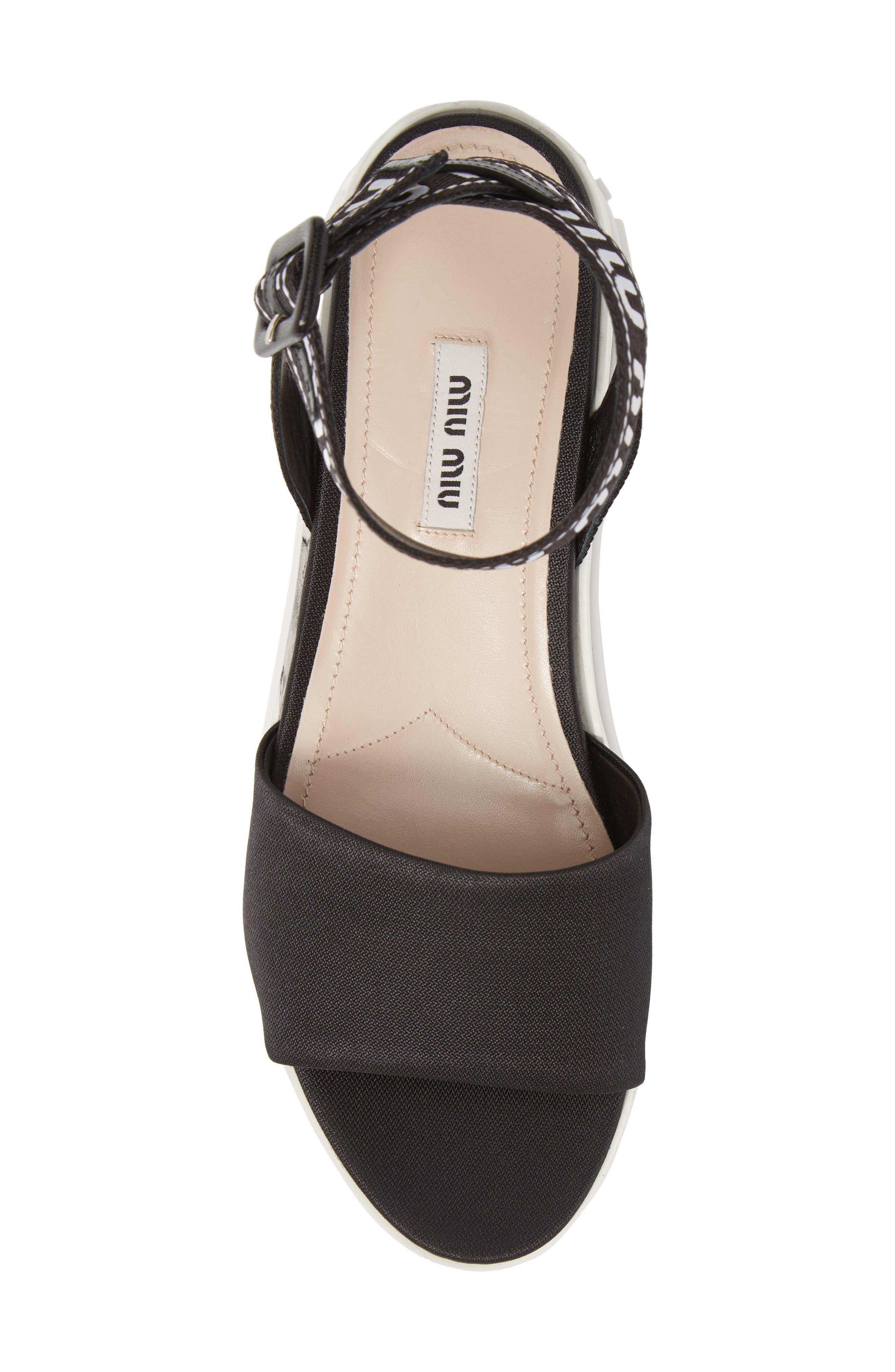 MIU MIU,                             Flatform Logo Sandal,                             Alternate thumbnail 5, color,                             BLACK