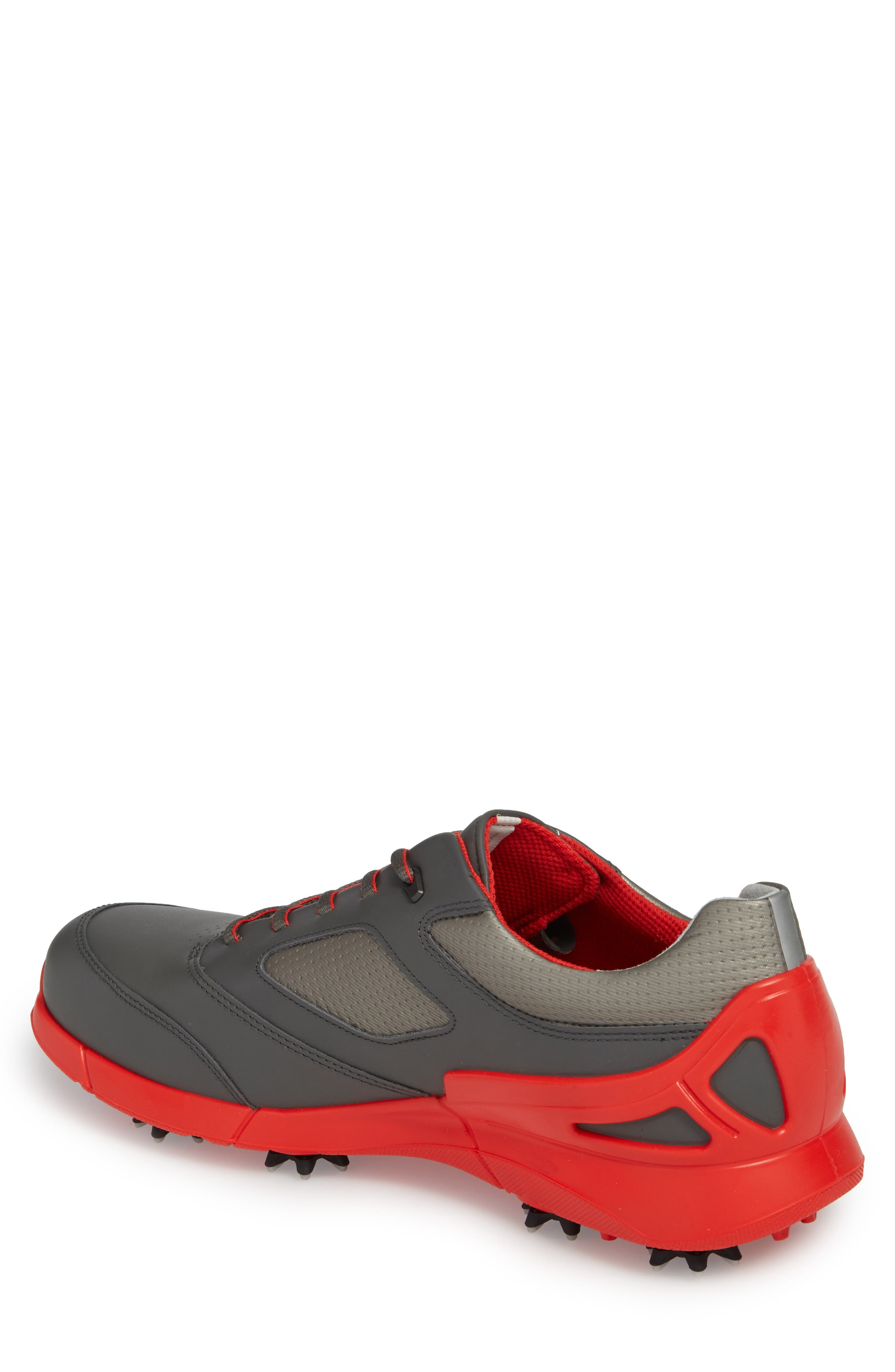 Base One Golf Shoe,                             Alternate thumbnail 2, color,                             BLACK/ SCARLET LEATHER