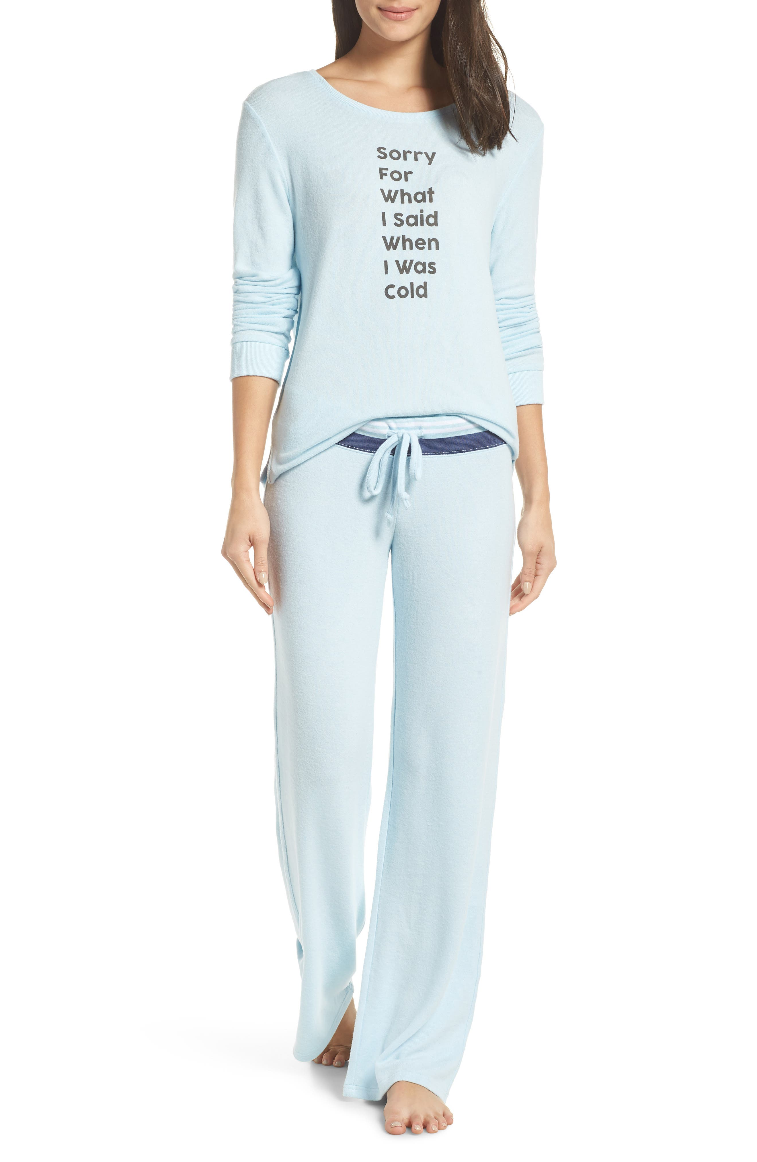 Best Boyfriend Brushed Hacci Lounge Pants,                             Alternate thumbnail 7, color,                             BLUE OMPHALODES