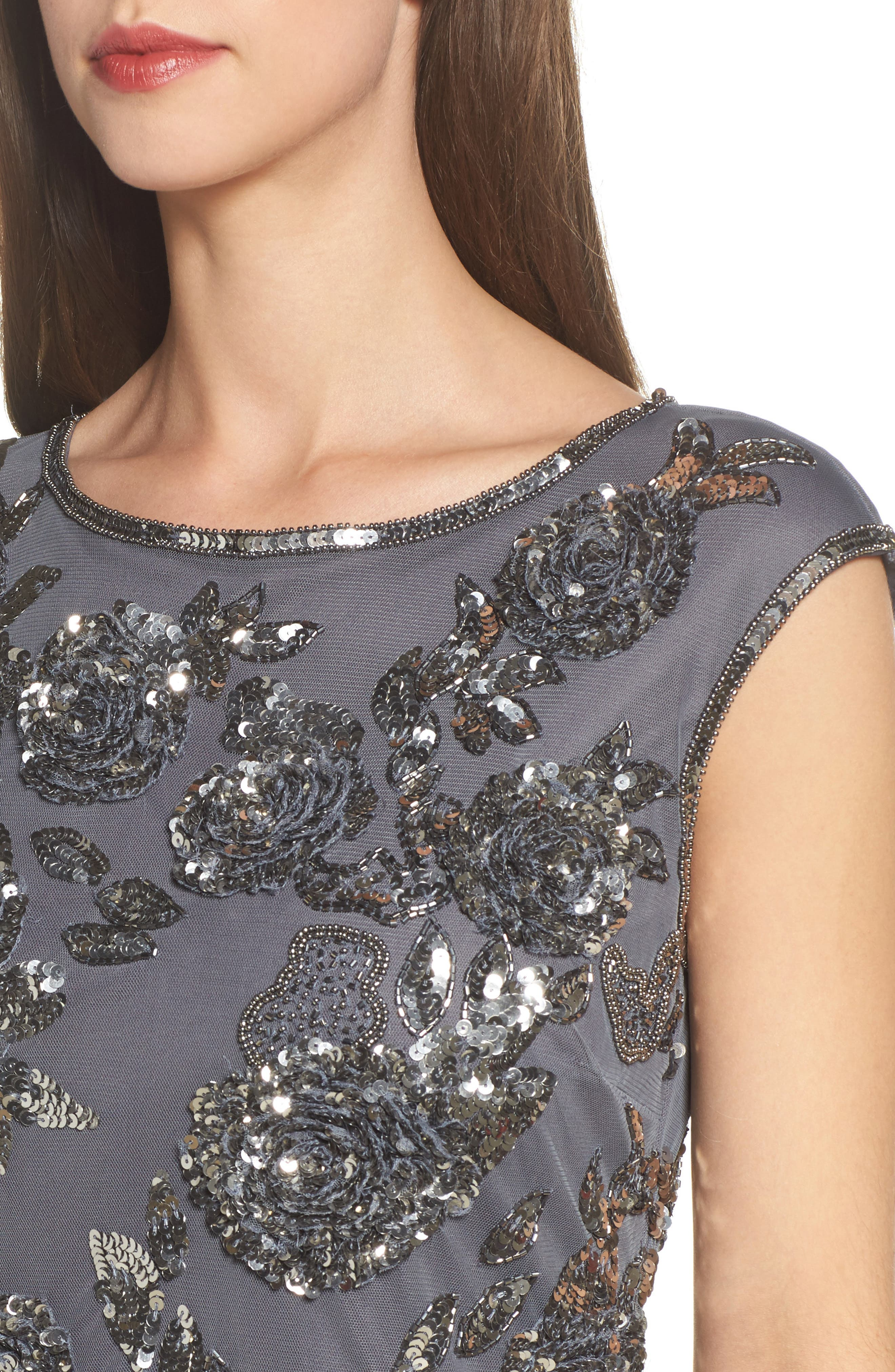 Embellished Long Dress,                             Alternate thumbnail 4, color,                             020
