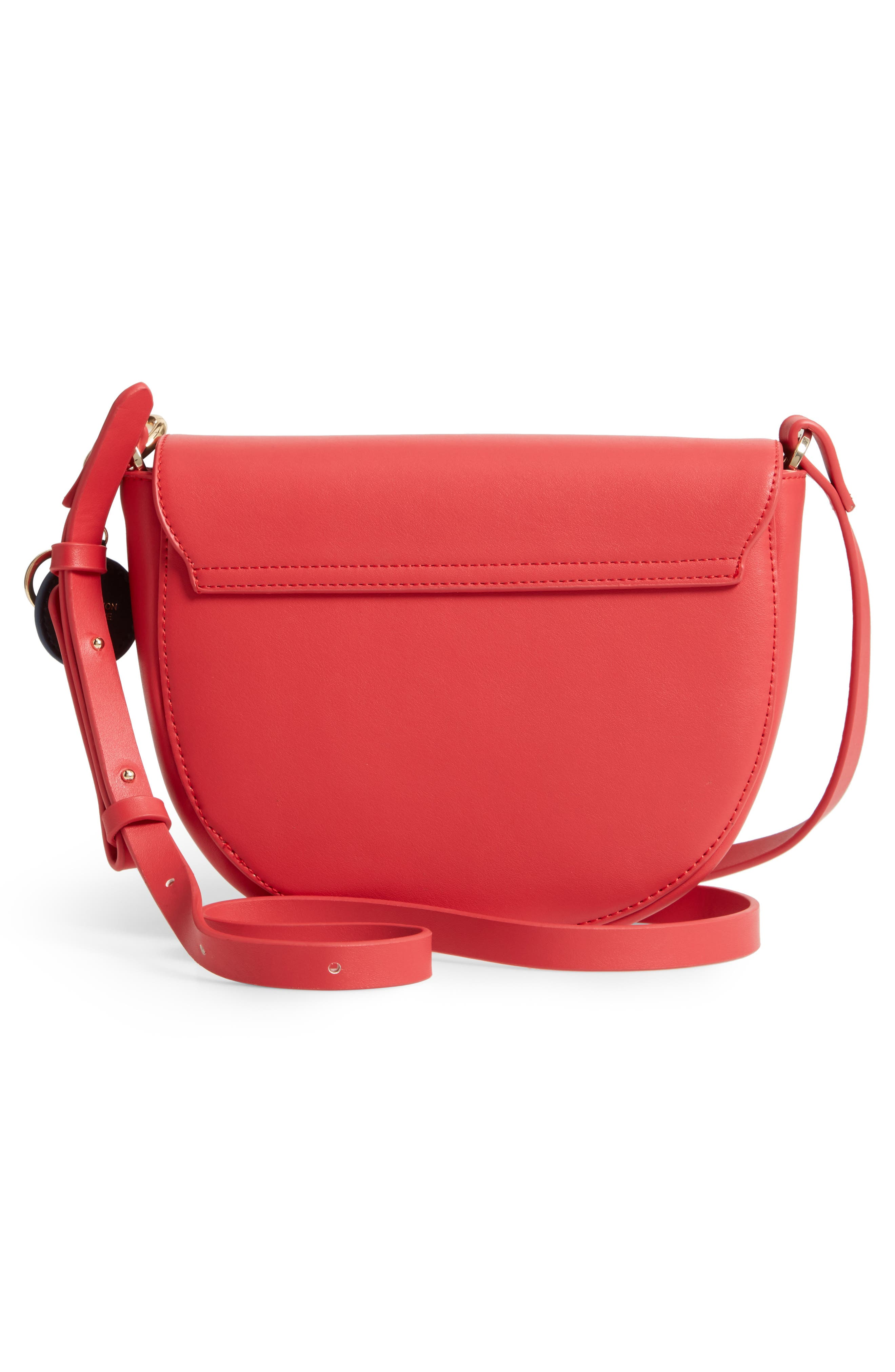 Faux Leather Saddle Bag,                             Alternate thumbnail 3, color,                             RED/ GREY