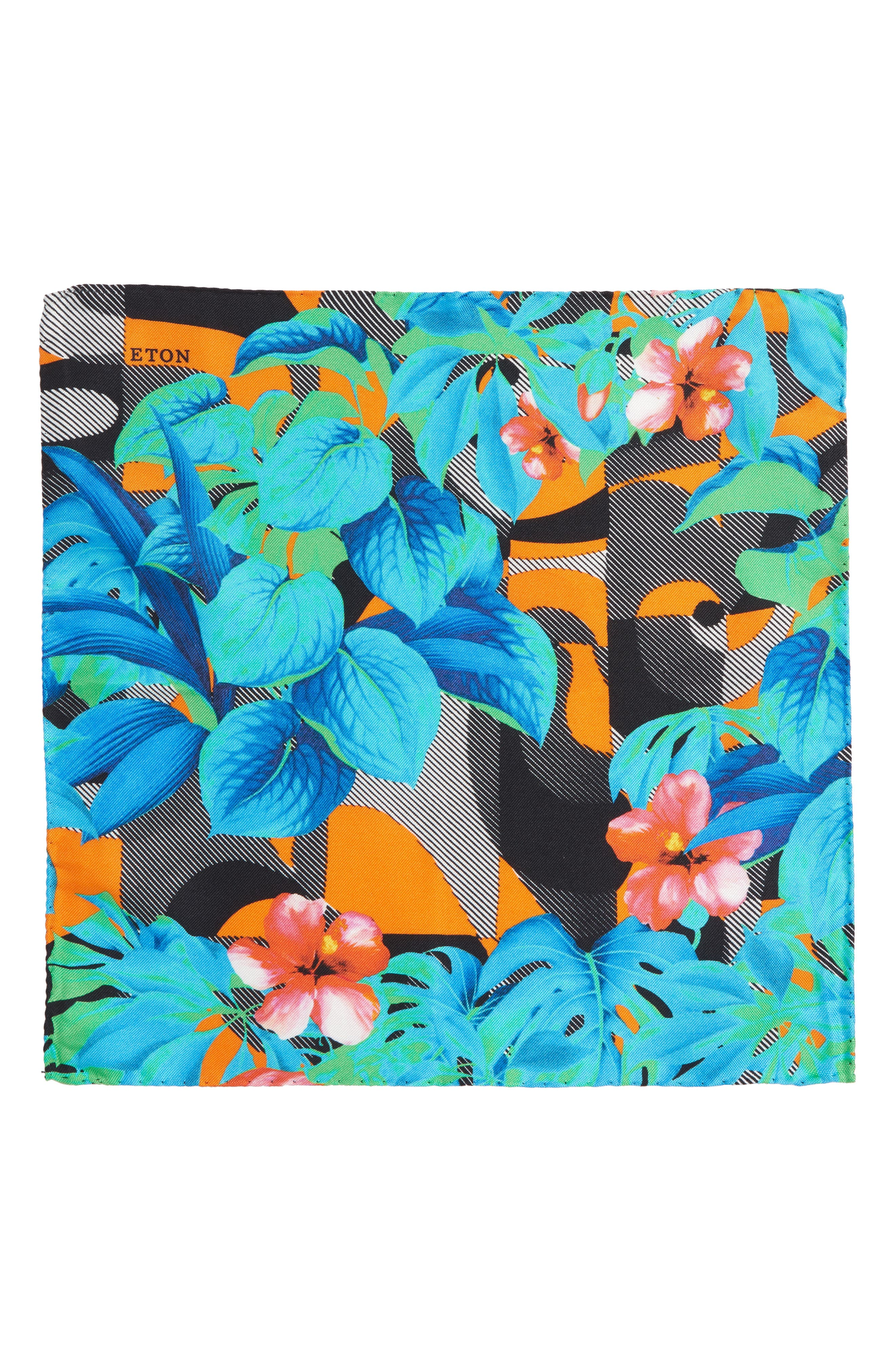 Tropical Floral Silk Pocket Square,                             Alternate thumbnail 2, color,                             400
