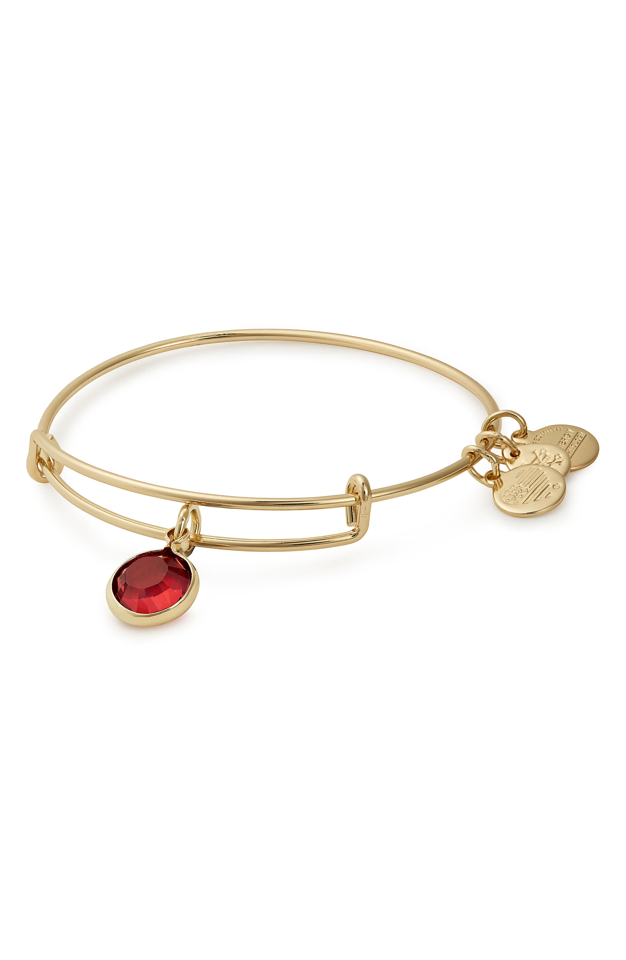 Color Code Adjustable Wire Bangle,                             Main thumbnail 1, color,                             JANUARY - SCARLET/ GOLD
