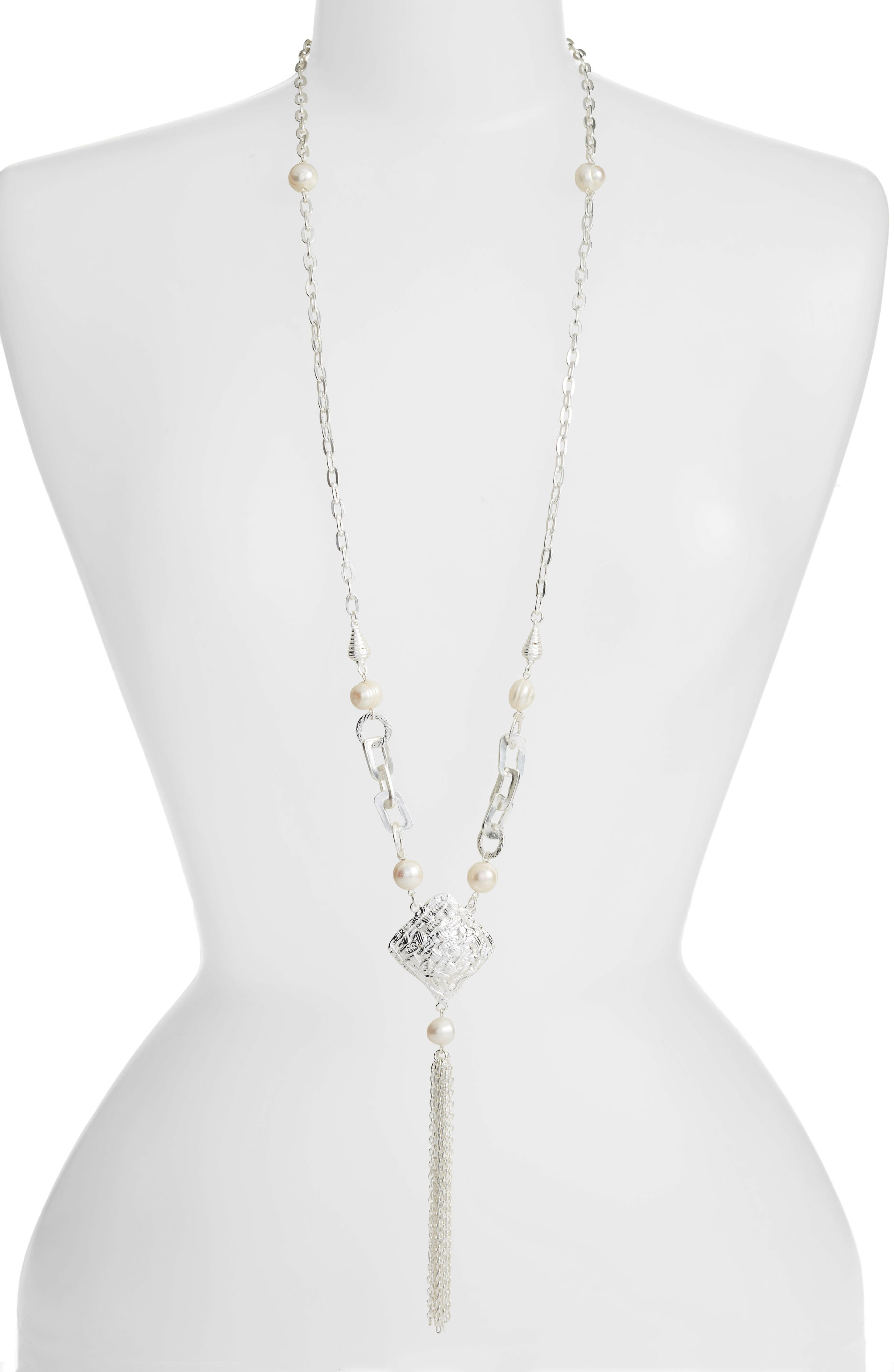 KARINE SULTAN,                             Long Y-Necklace,                             Main thumbnail 1, color,                             SILVER