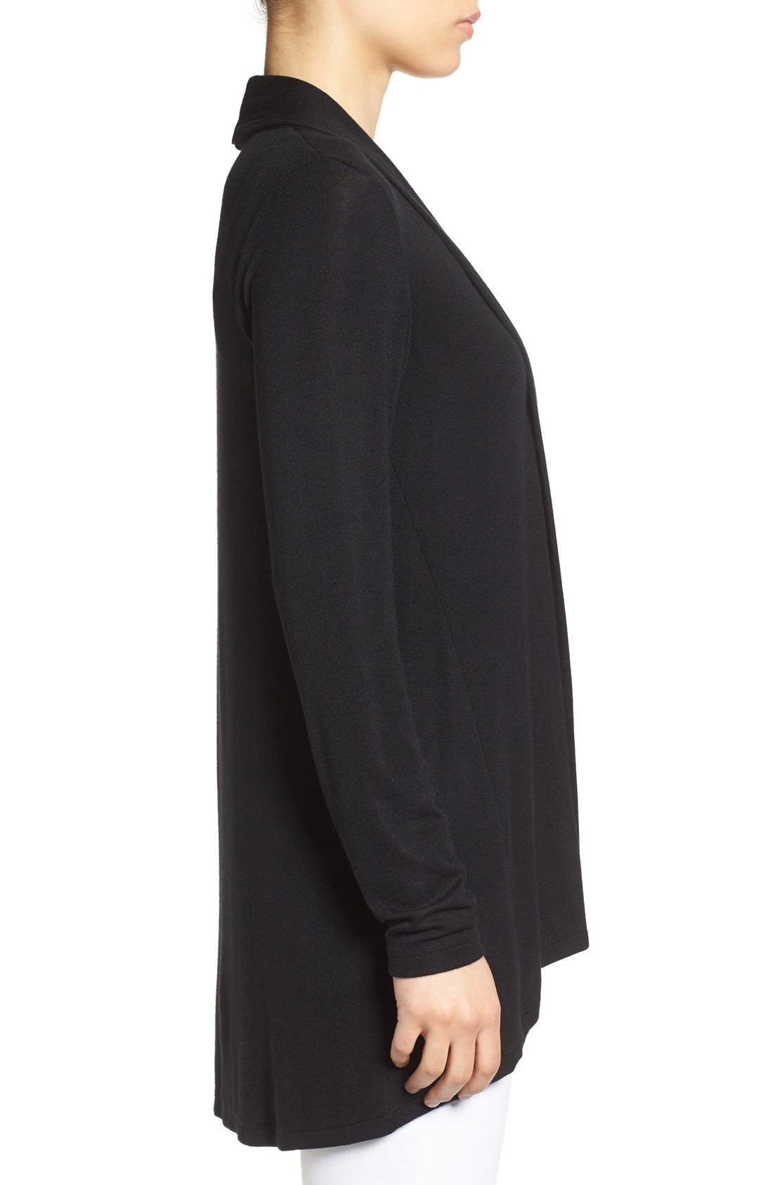 High/Low Jersey Cardigan,                             Alternate thumbnail 4, color,                             BLACK