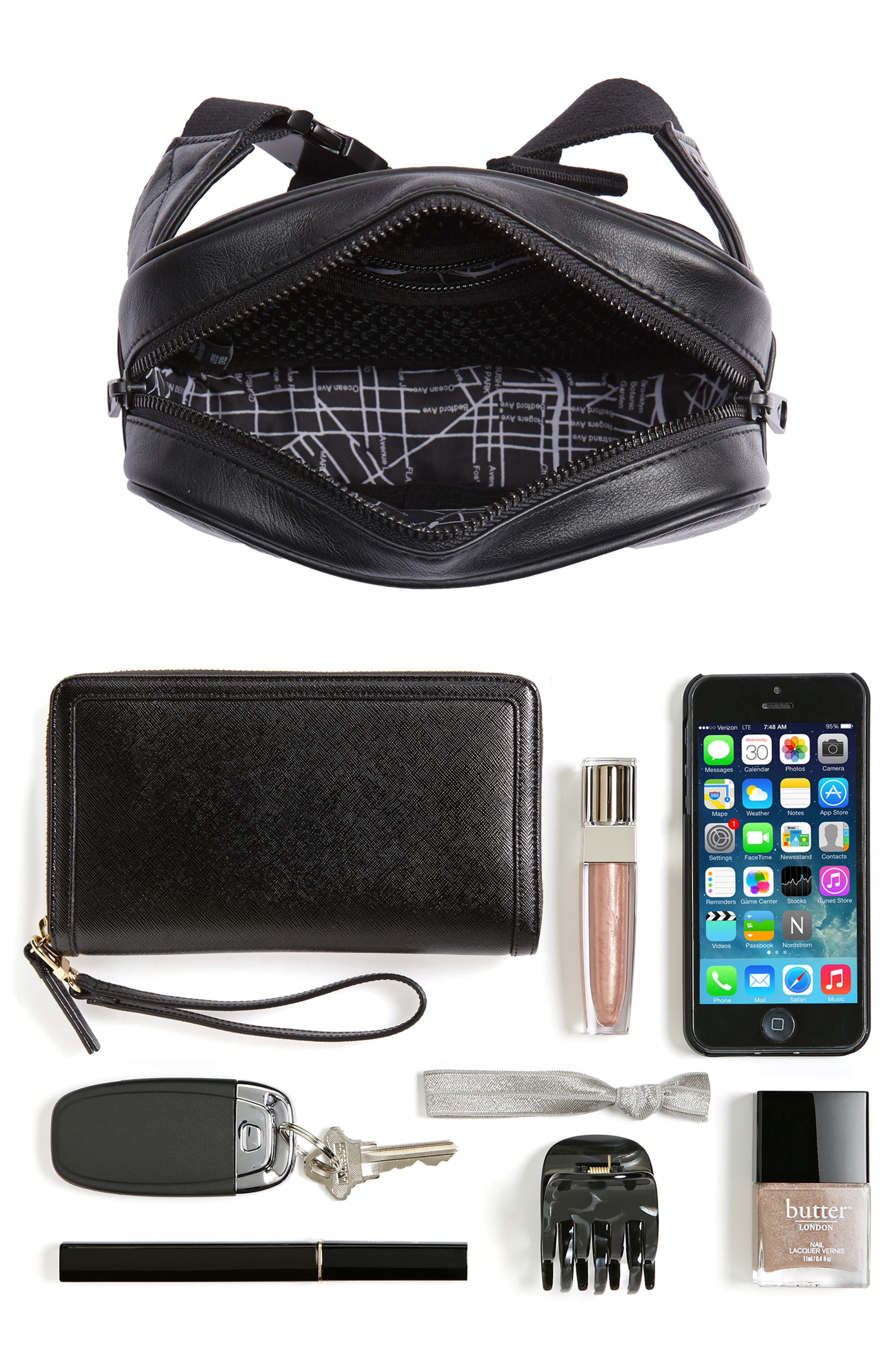 Homecrest Crosby Leather Belt Bag,                             Alternate thumbnail 8, color,                             BLACK