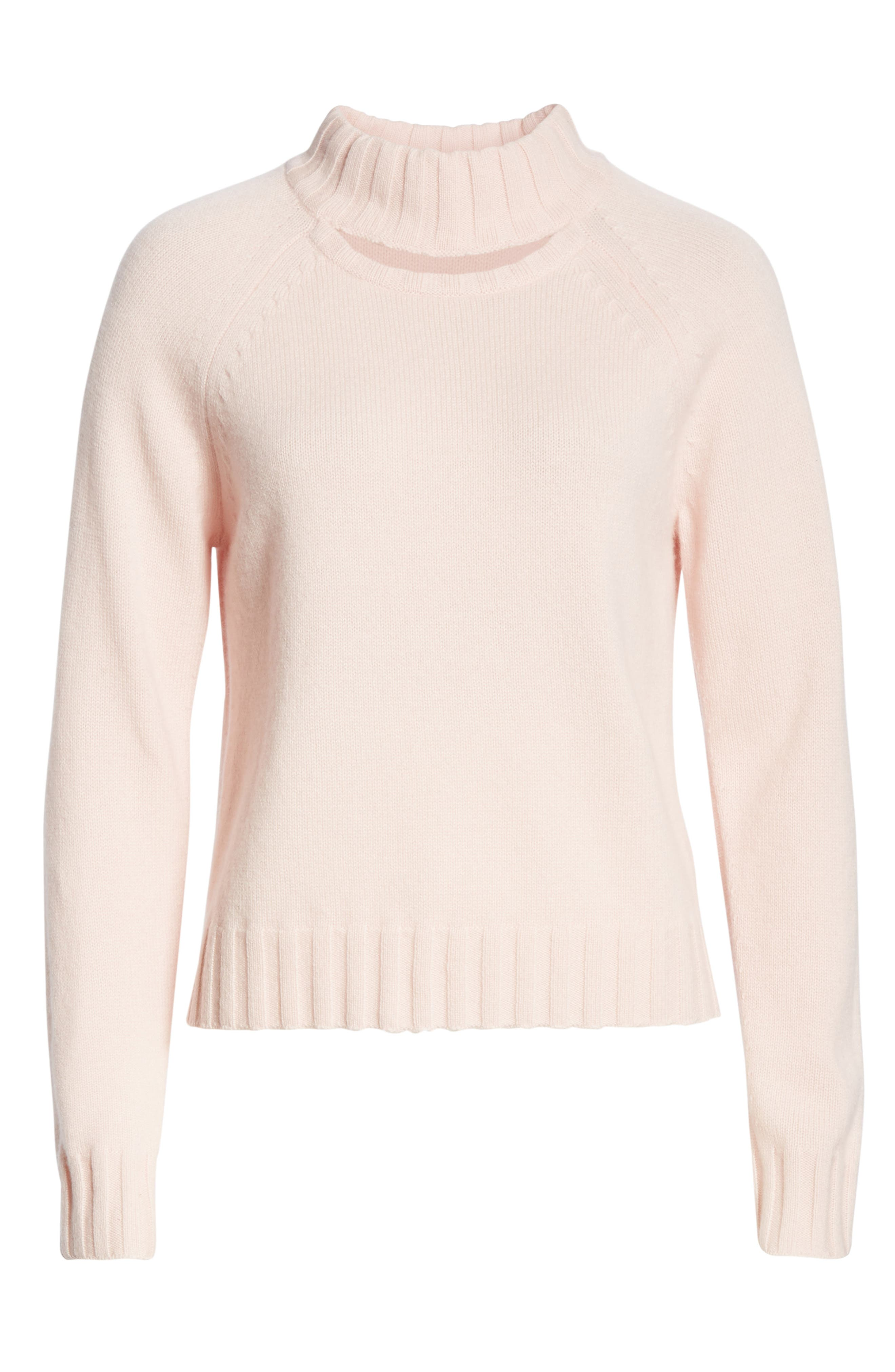 Cutout Detail Mock Neck Wool Cashmere Sweater,                             Alternate thumbnail 6, color,                             CHARM PINK