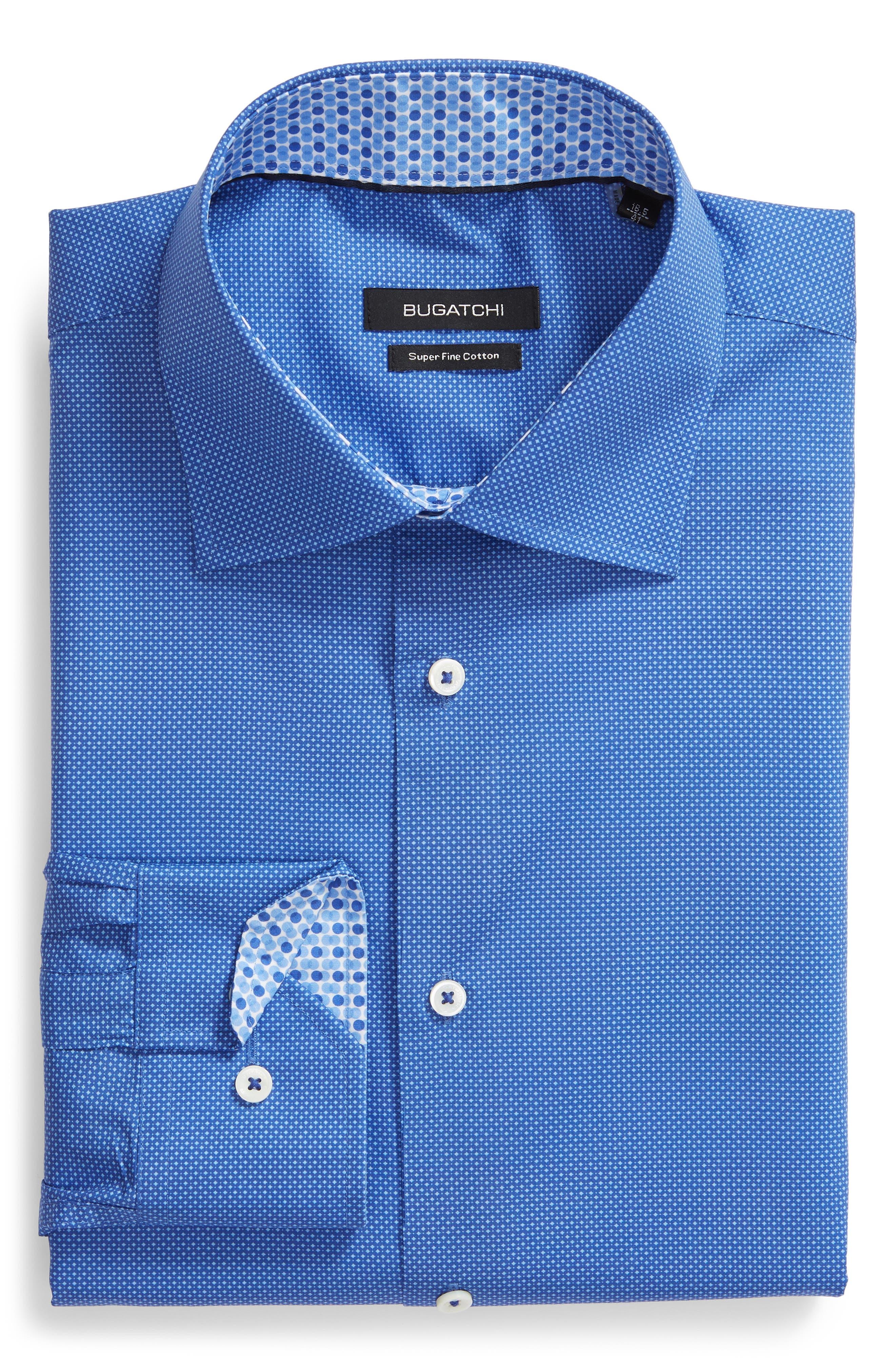 Trim Fit Print Dress Shirt,                         Main,                         color, ROYAL