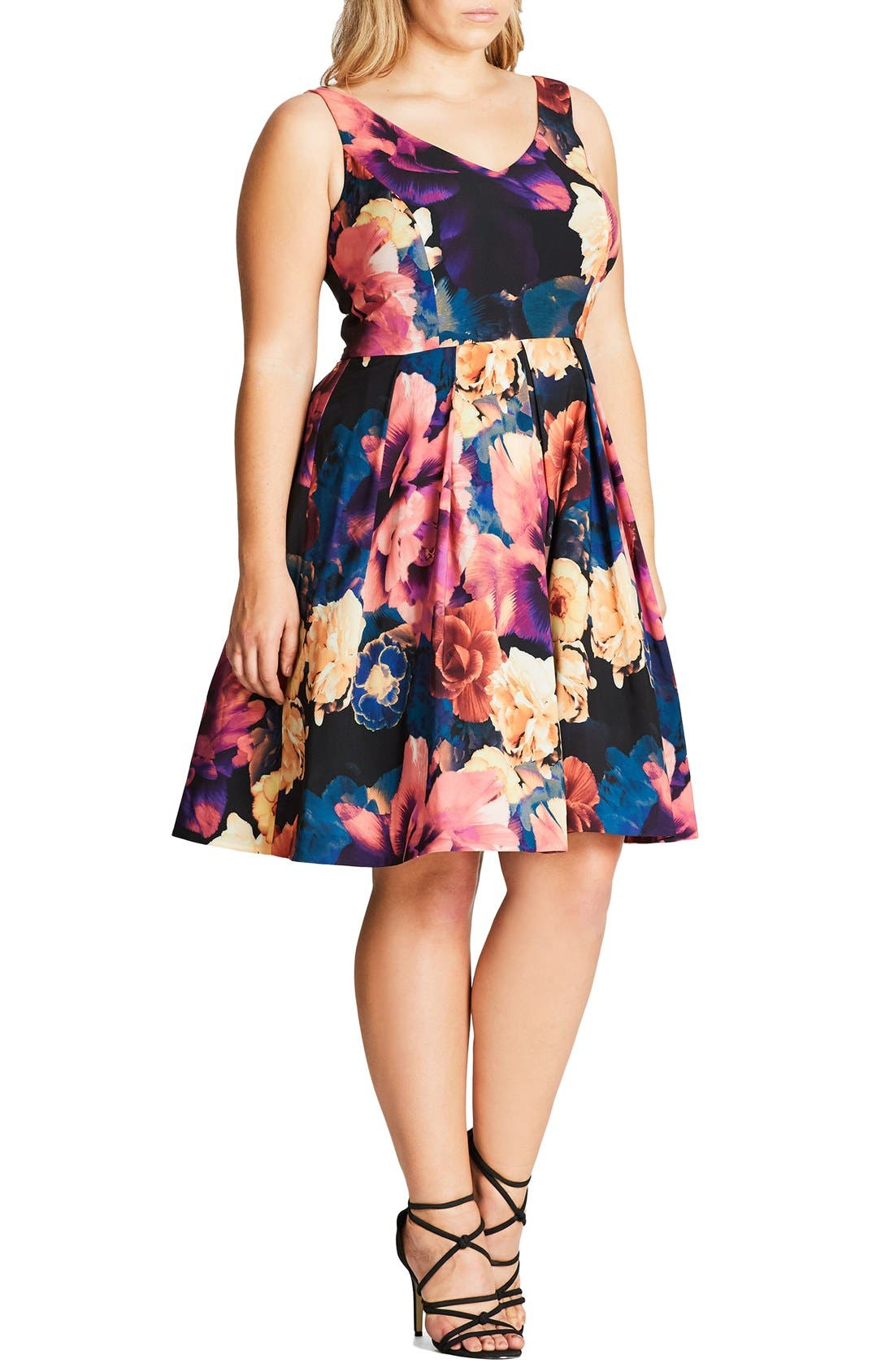 Secret Garden Print Fit & Flare Dress,                             Alternate thumbnail 2, color,                             001