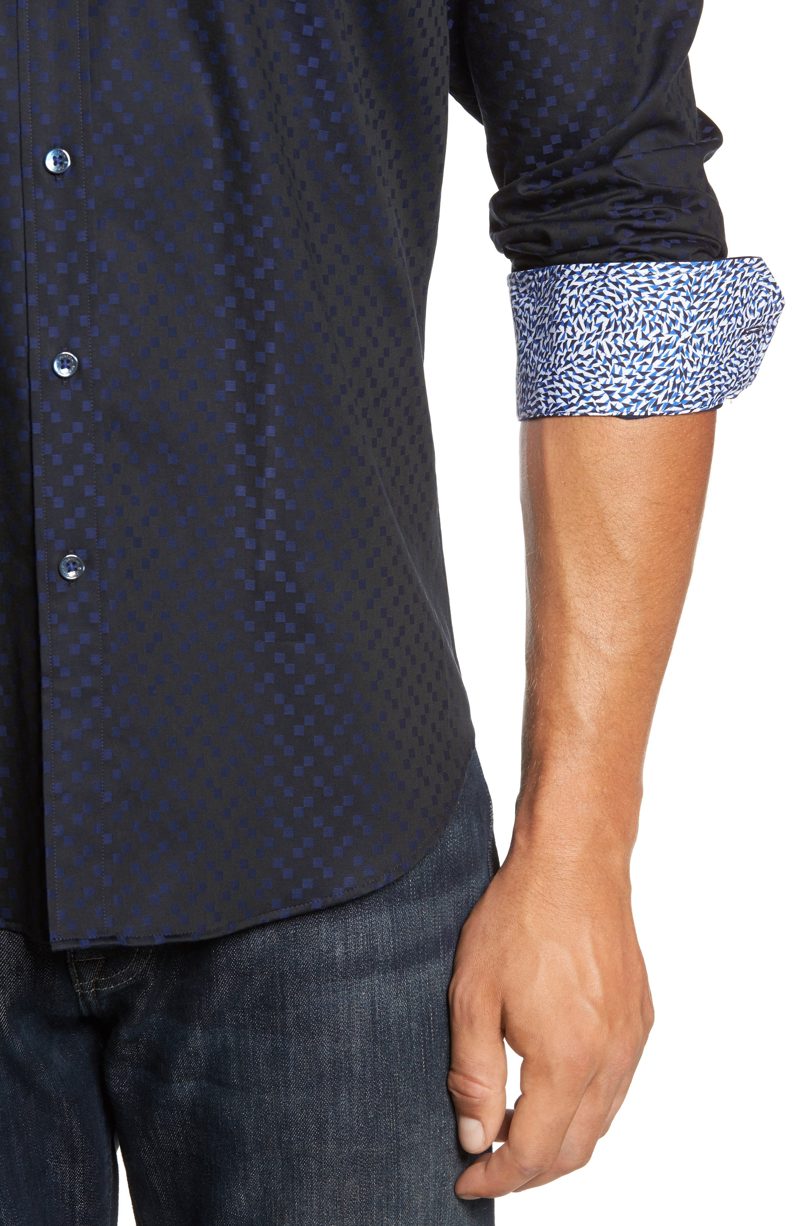 Trim Fit Geo Jacquard Sport Shirt,                             Alternate thumbnail 4, color,                             410