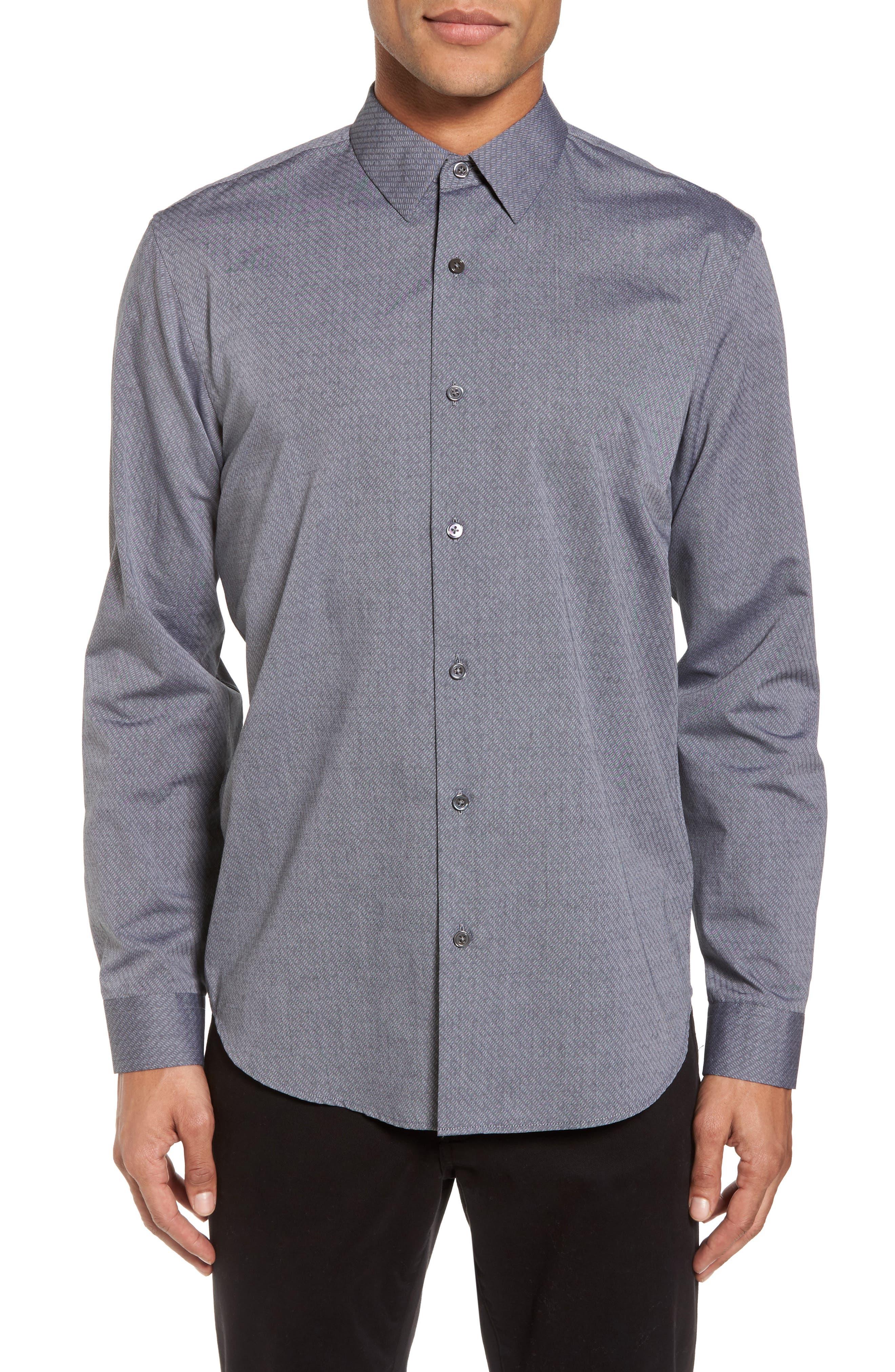 Storm Trim Fit Solid Sport Shirt,                             Main thumbnail 1, color,