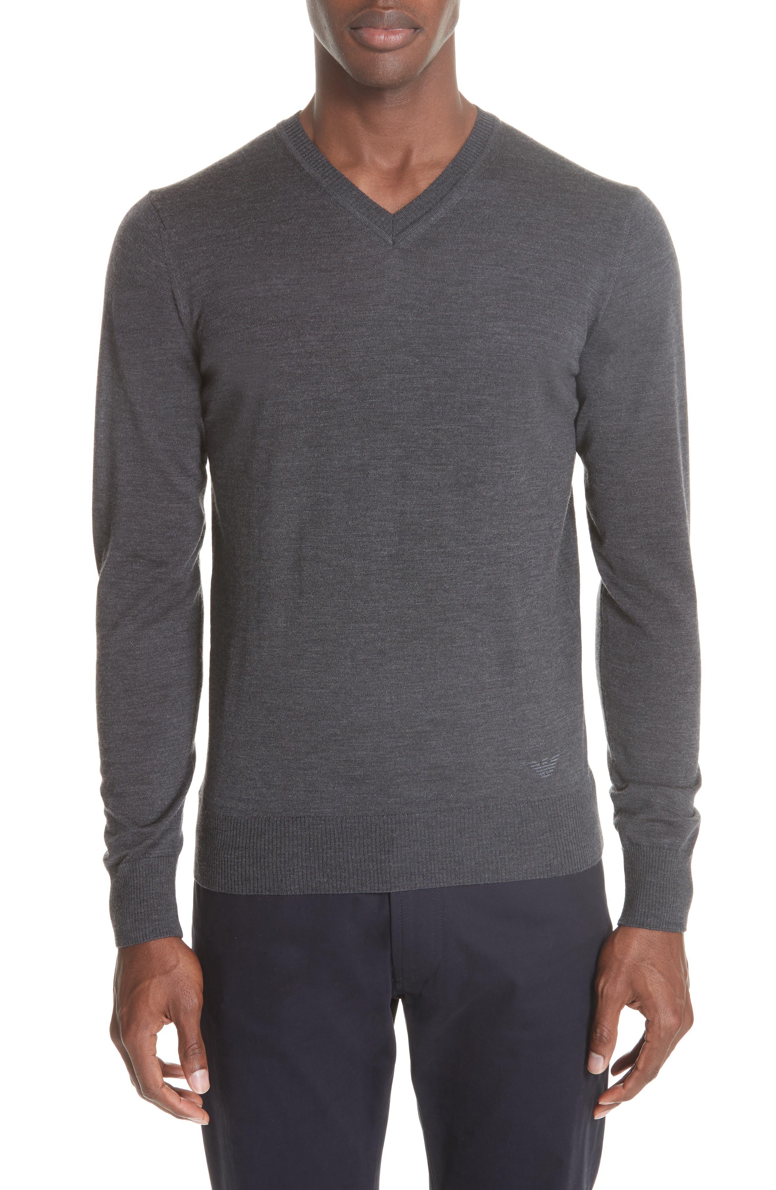 V-Neck Wool Sweater,                             Main thumbnail 1, color,                             GREY