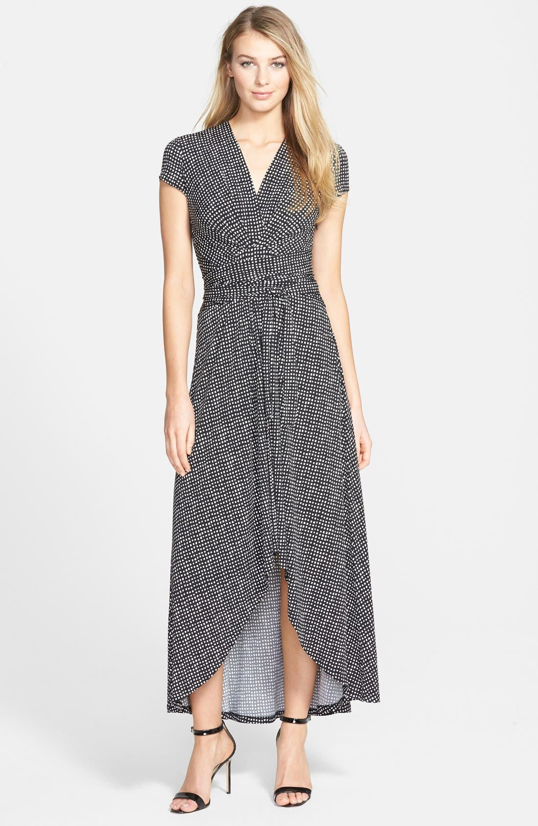 Michael Michael Kors Cap Sleeve High Low Maxi Dress Regular