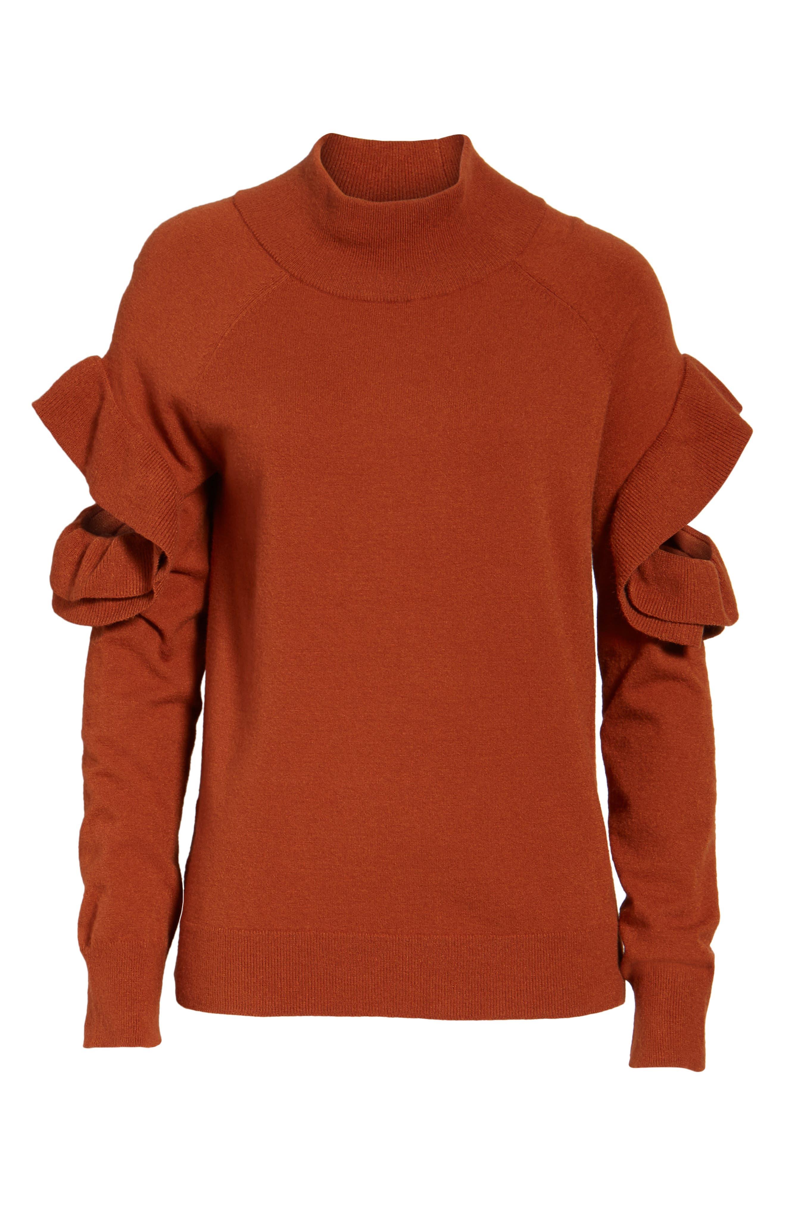 Ruffle Sleeve Sweater,                             Alternate thumbnail 17, color,