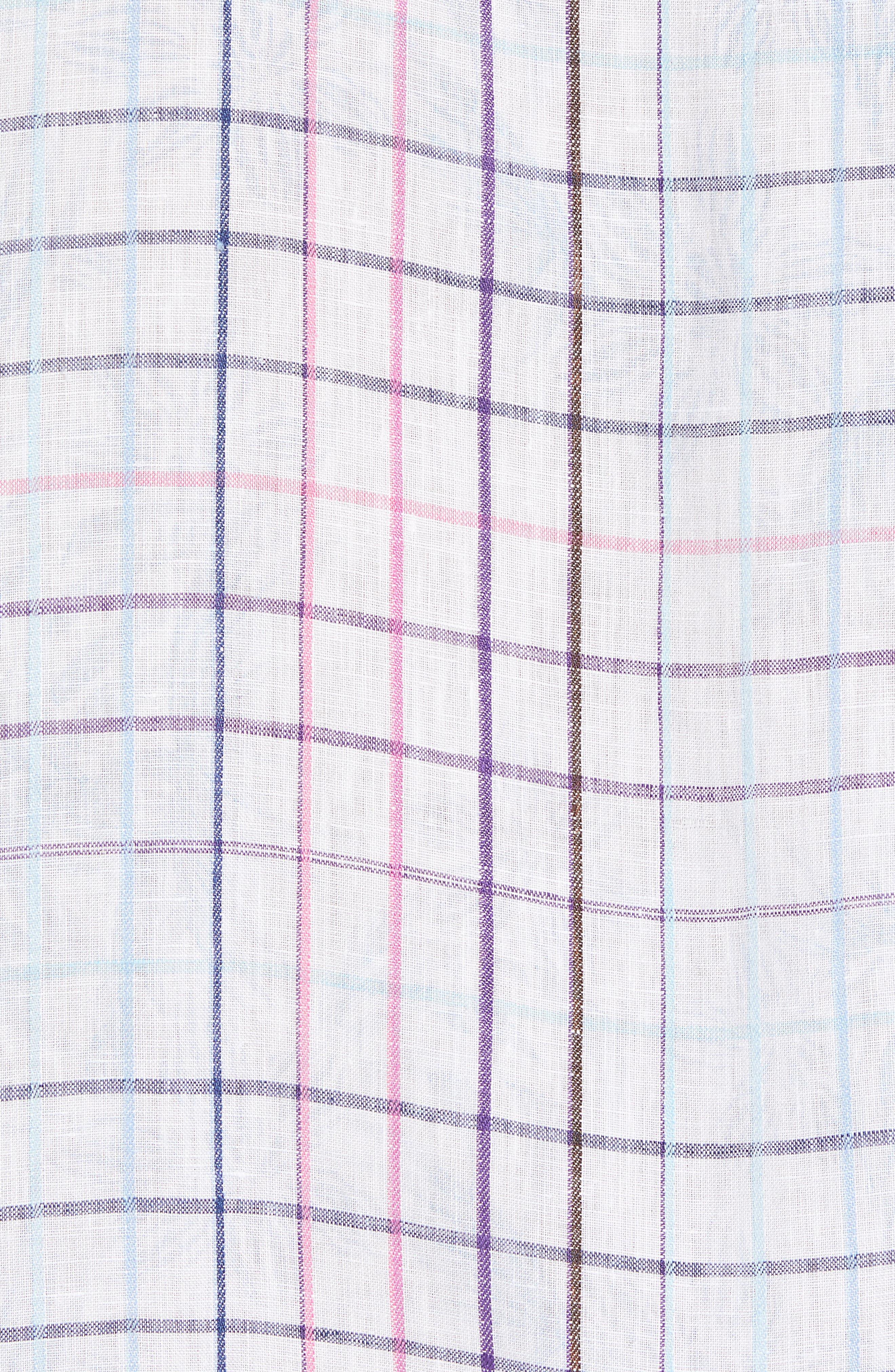 Tulum Terrace Check Linen Sport Shirt,                             Alternate thumbnail 5, color,                             BOWTIE BLUE