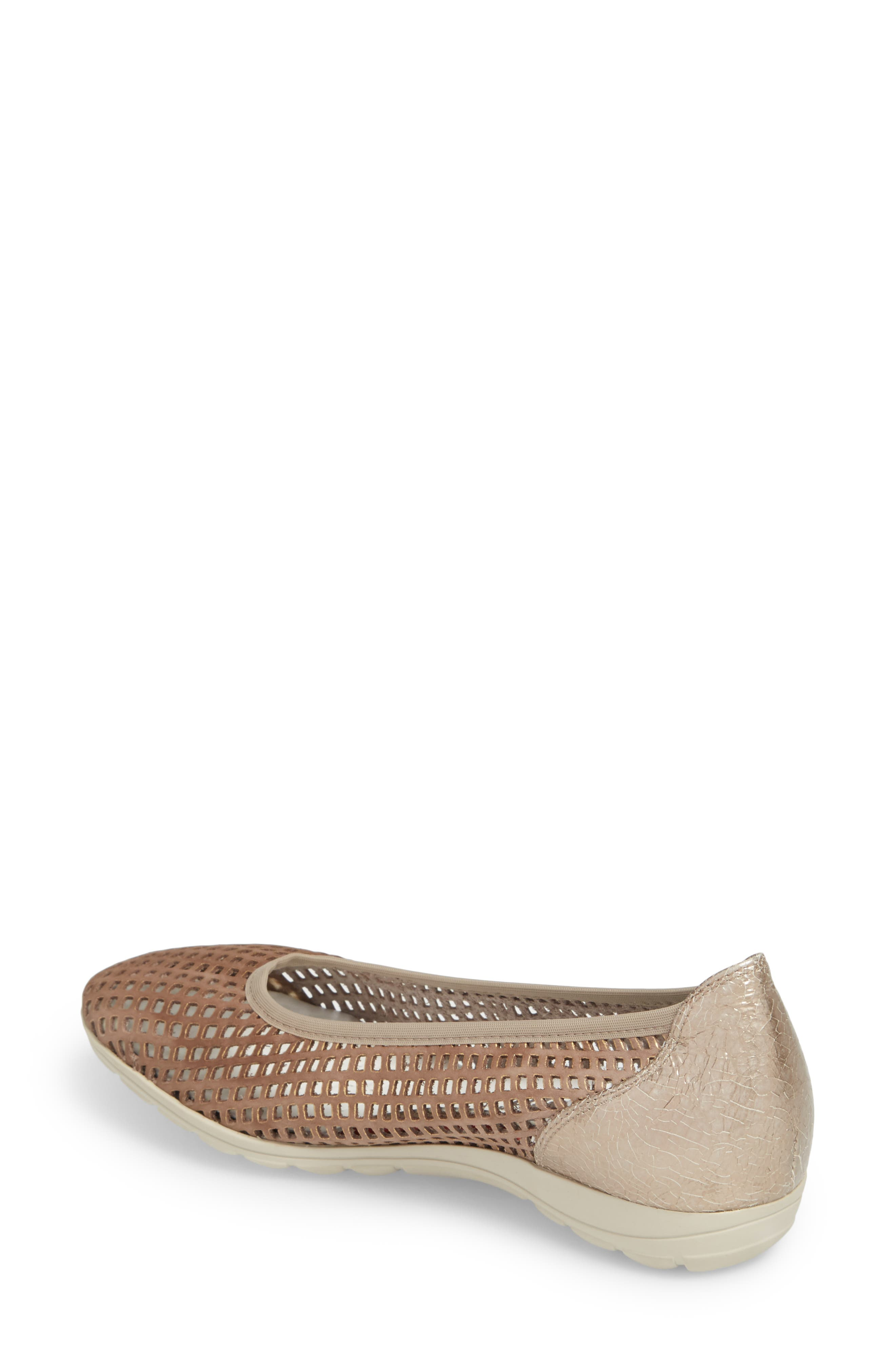 Evelyne Perforated Flat,                             Alternate thumbnail 2, color,                             TAUPE LEATHER