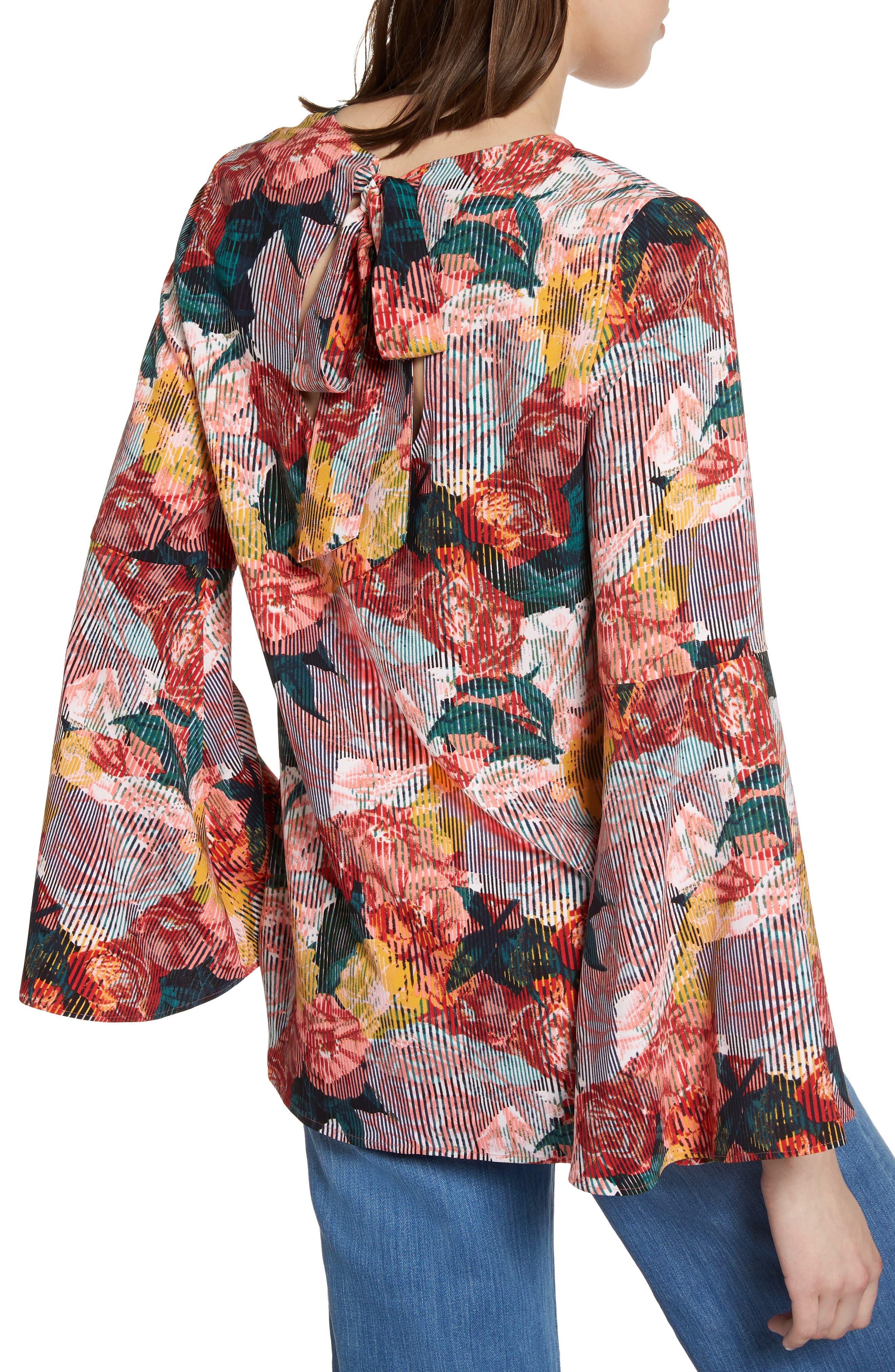 Bow Back Print Flare Sleeve Tunic,                             Alternate thumbnail 9, color,