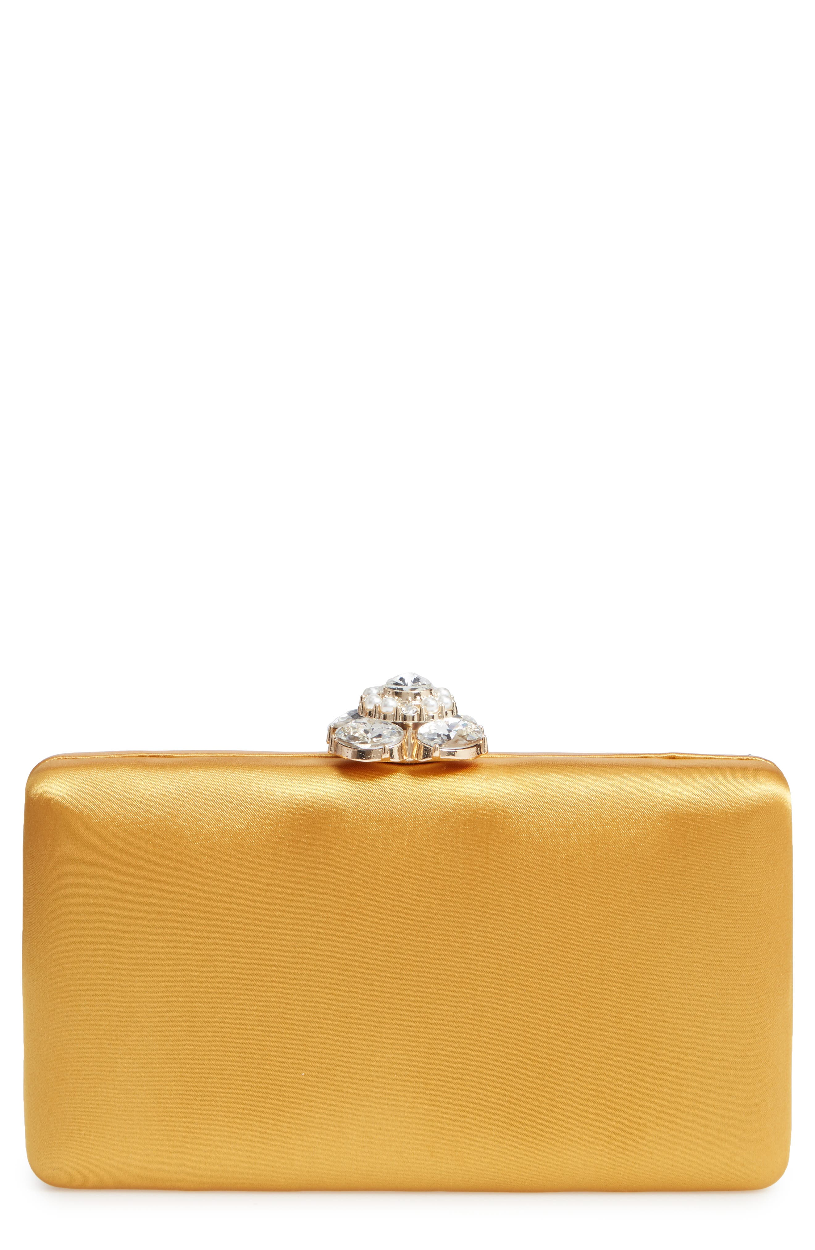 Crystal Imitation Pearl Clasp Box Clutch,                         Main,                         color, YELLOW GOLD