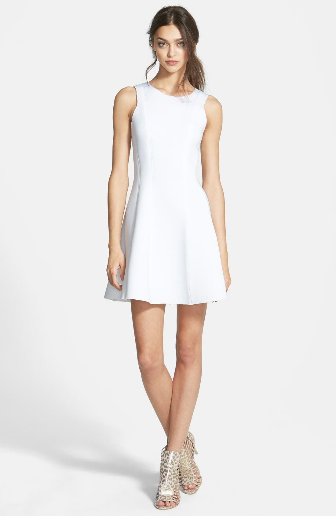 Sleeveless Scuba Fit & Flare Dress,                         Main,                         color, 100