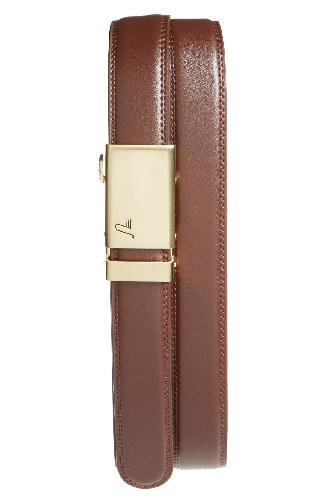 'TwentyFour' Leather Belt,                             Main thumbnail 1, color,                             GOLD/ CHOCOLATE