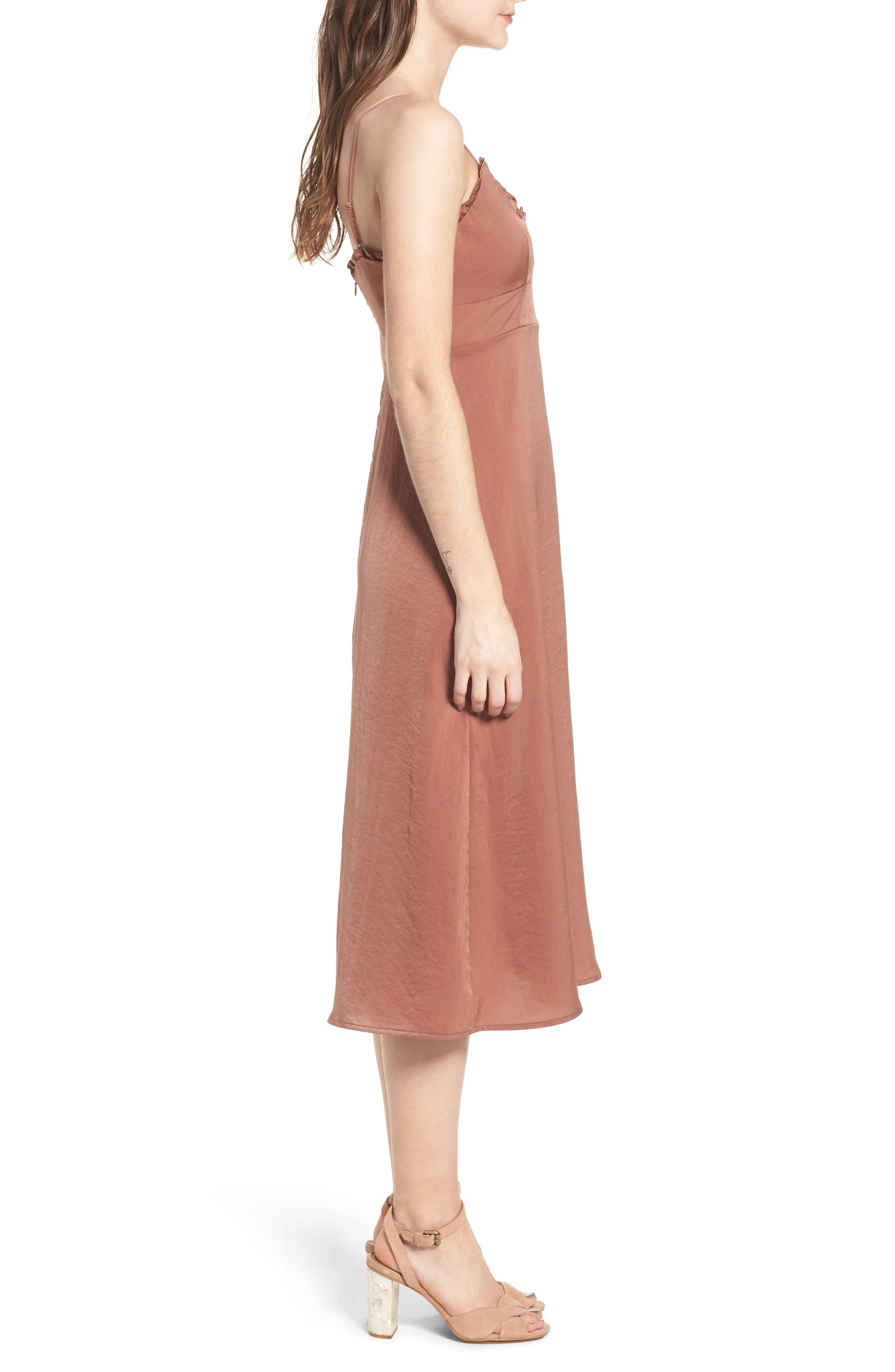 Ali Ruffle Trim Satin A-Line Midi Dress,                             Alternate thumbnail 3, color,                             250