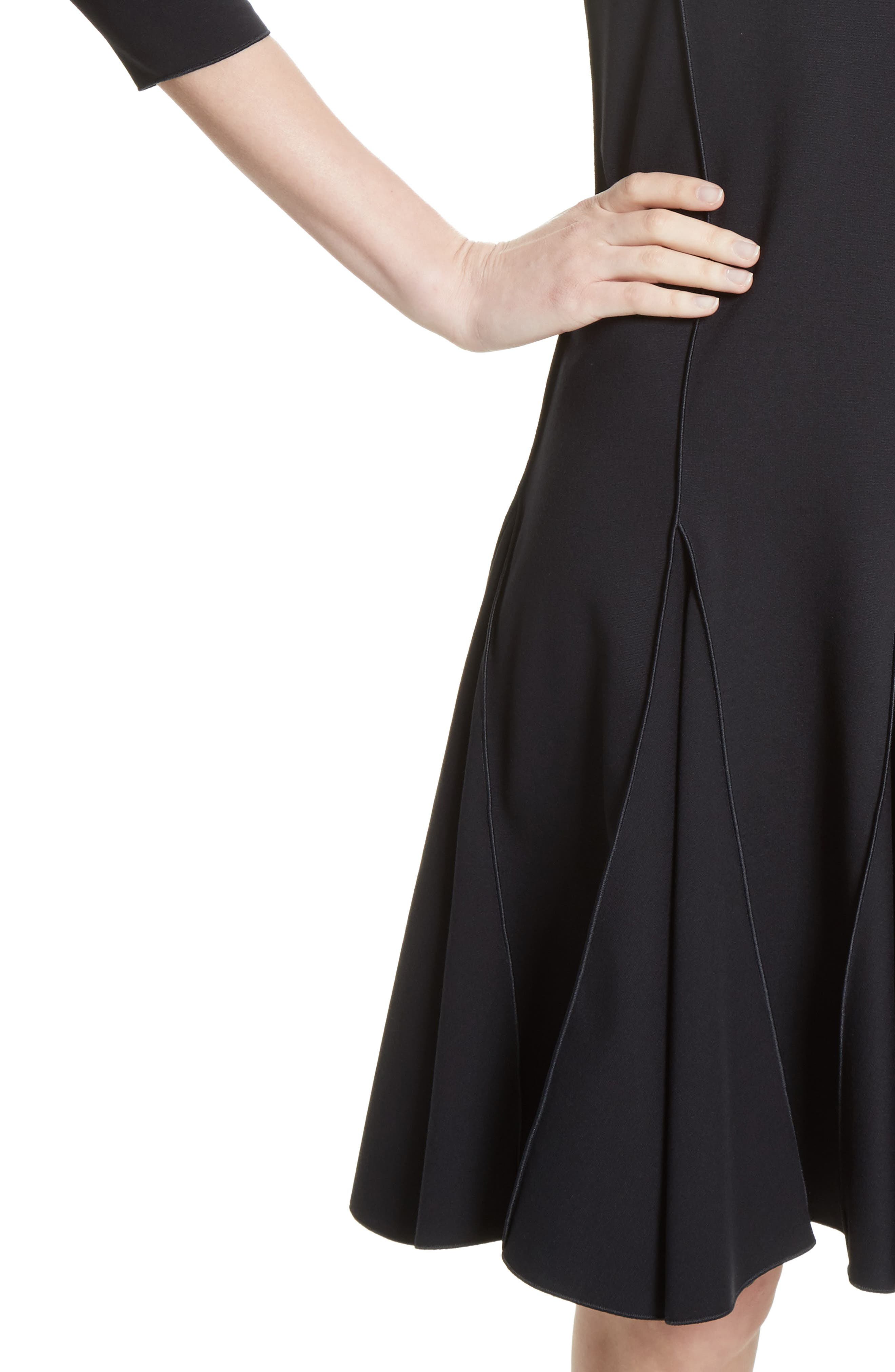 Seamed Jersey Fit & Flare Dress,                             Alternate thumbnail 4, color,                             414