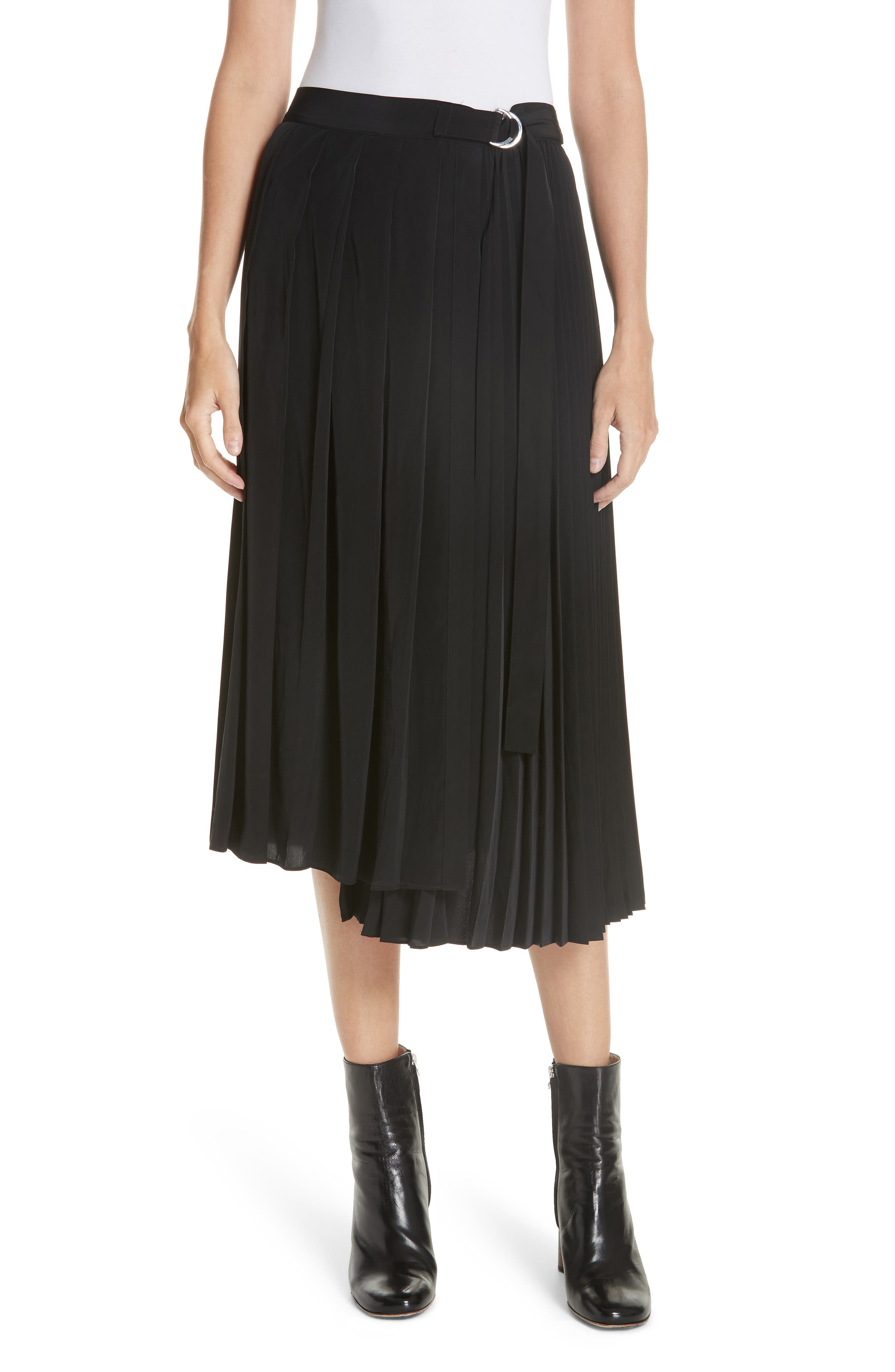 Asymmetrical Pleated Midi Skirt,                             Main thumbnail 1, color,                             BLACK