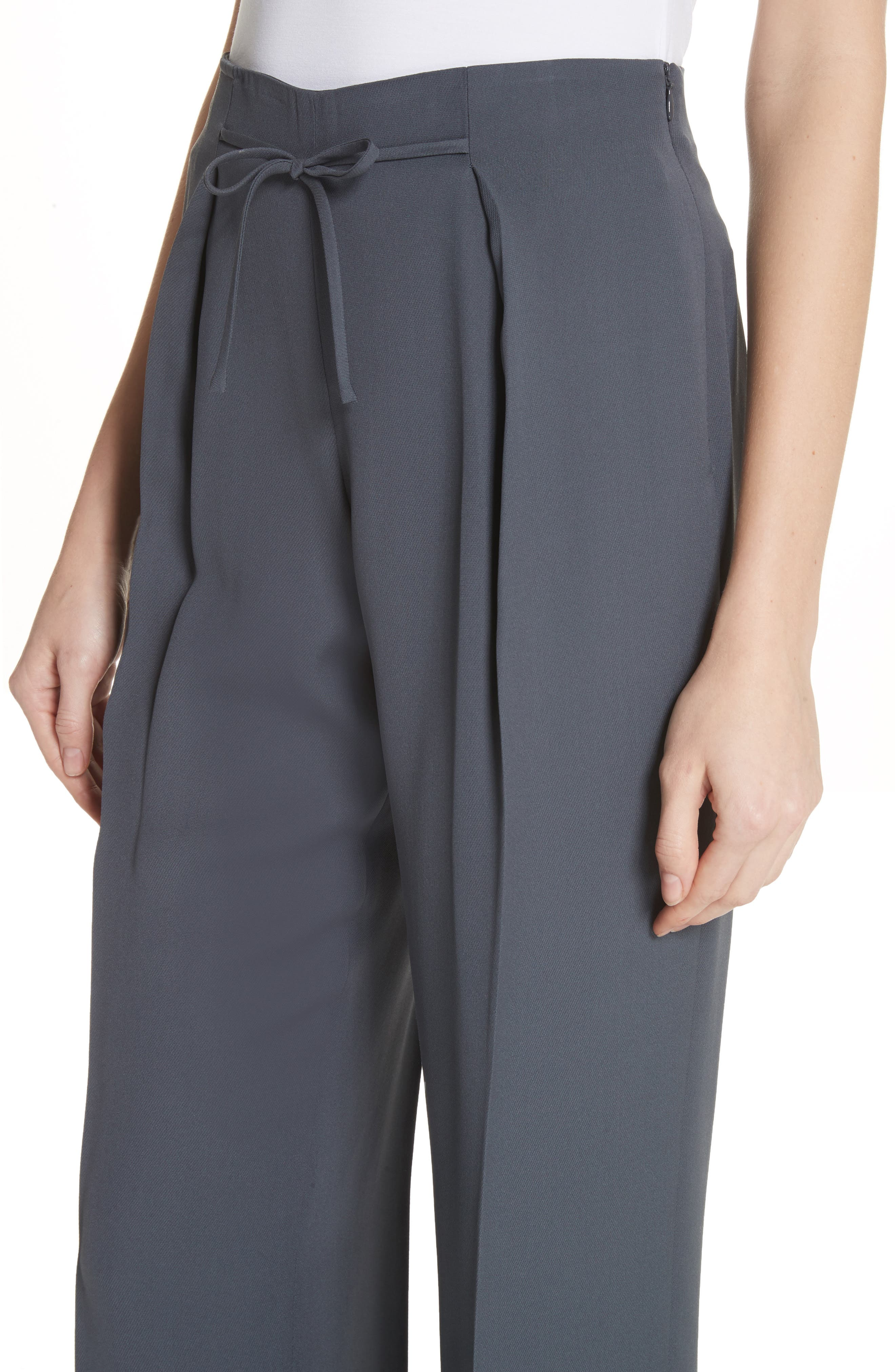Tie Front Silk Pants,                             Alternate thumbnail 4, color,