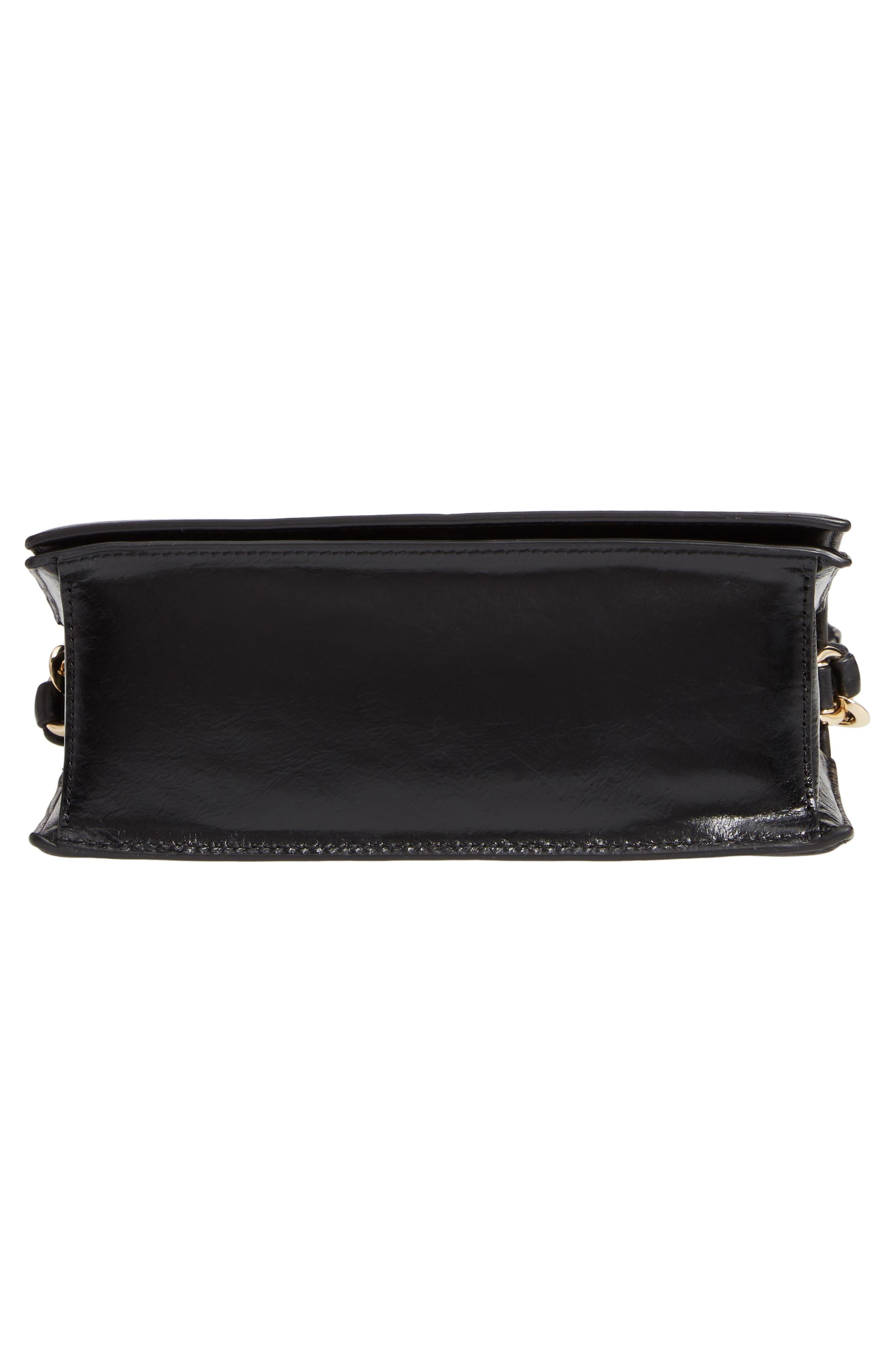 DVF Bonne Soirée Leather Top Handle Bag,                             Alternate thumbnail 6, color,                             001