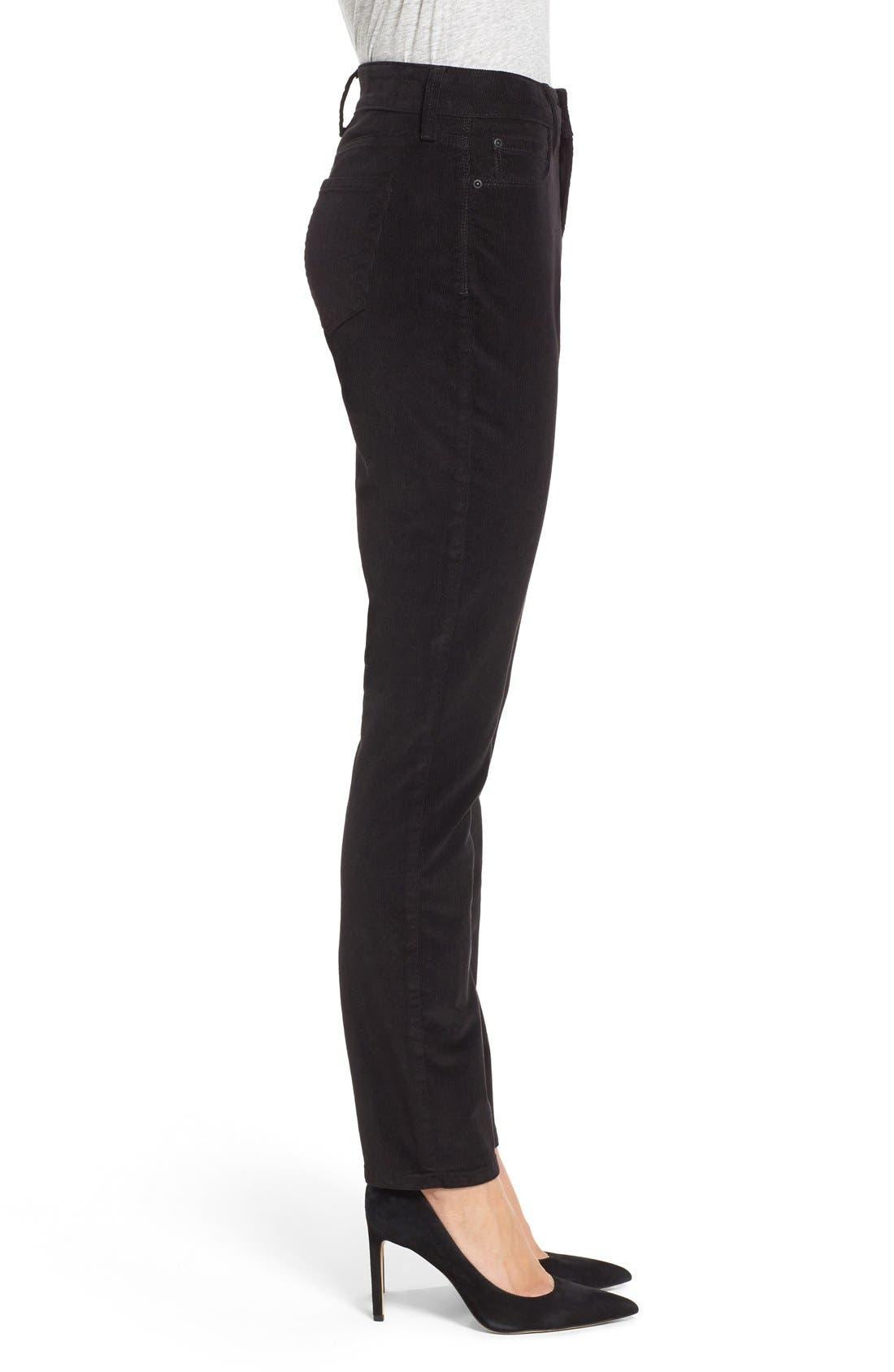 'Alina' Skinny Stretch Corduroy Pants,                             Alternate thumbnail 3, color,                             001