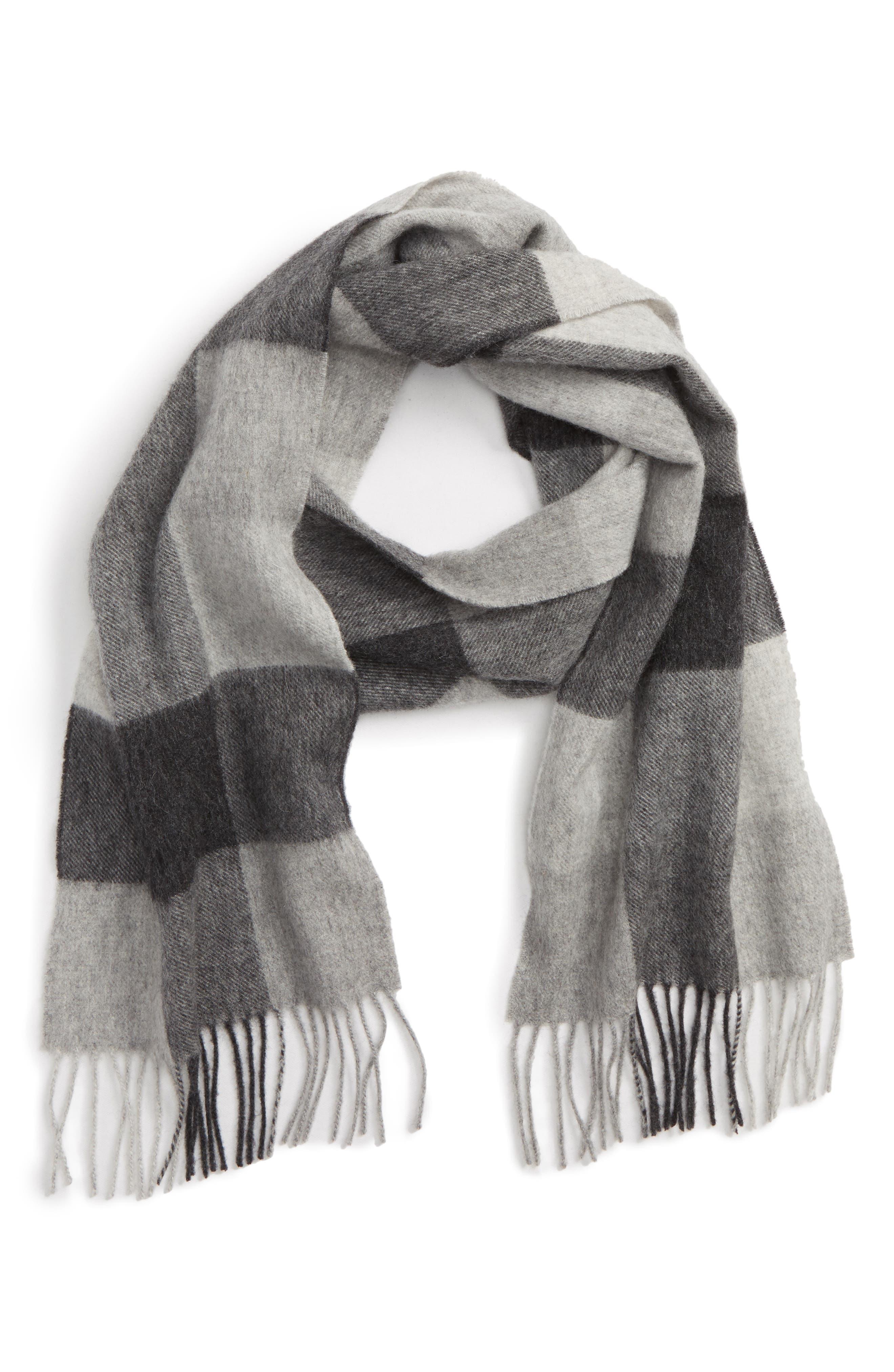 Lockton Check Merino Wool & Cashmere Scarf,                         Main,                         color, 020