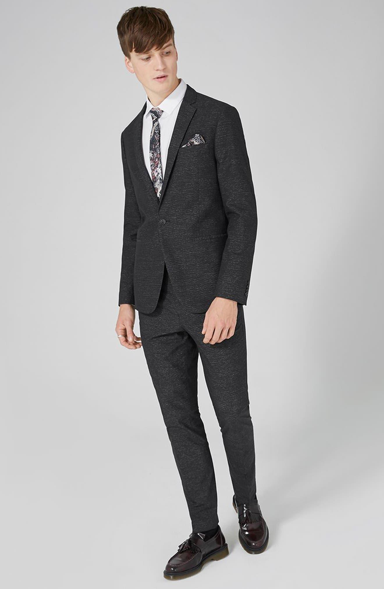 Skinny Fit Stripe Cotton Suit Pants,                             Alternate thumbnail 5, color,