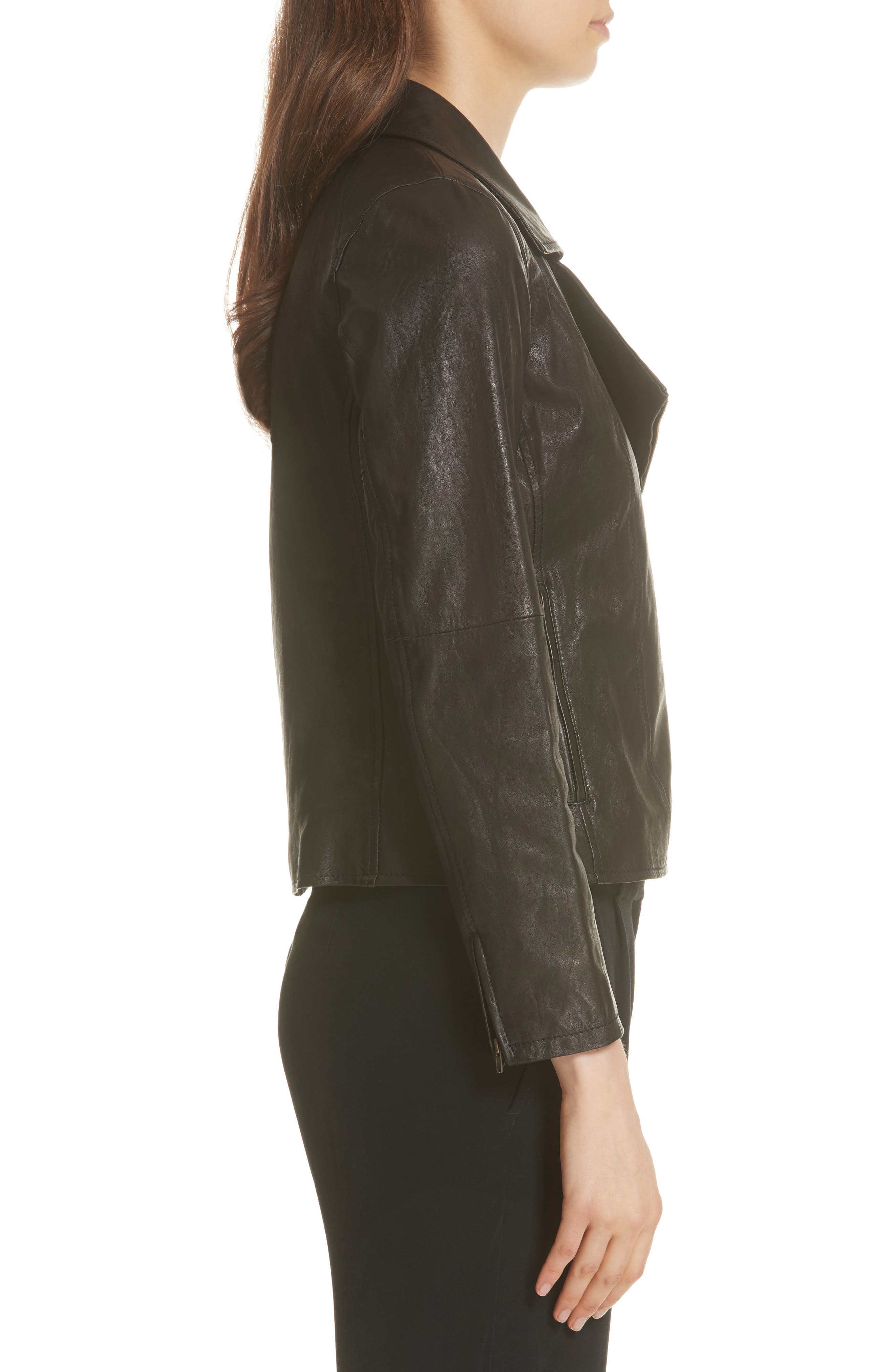EILEEN FISHER,                             Leather Moto Jacket,                             Alternate thumbnail 3, color,                             001
