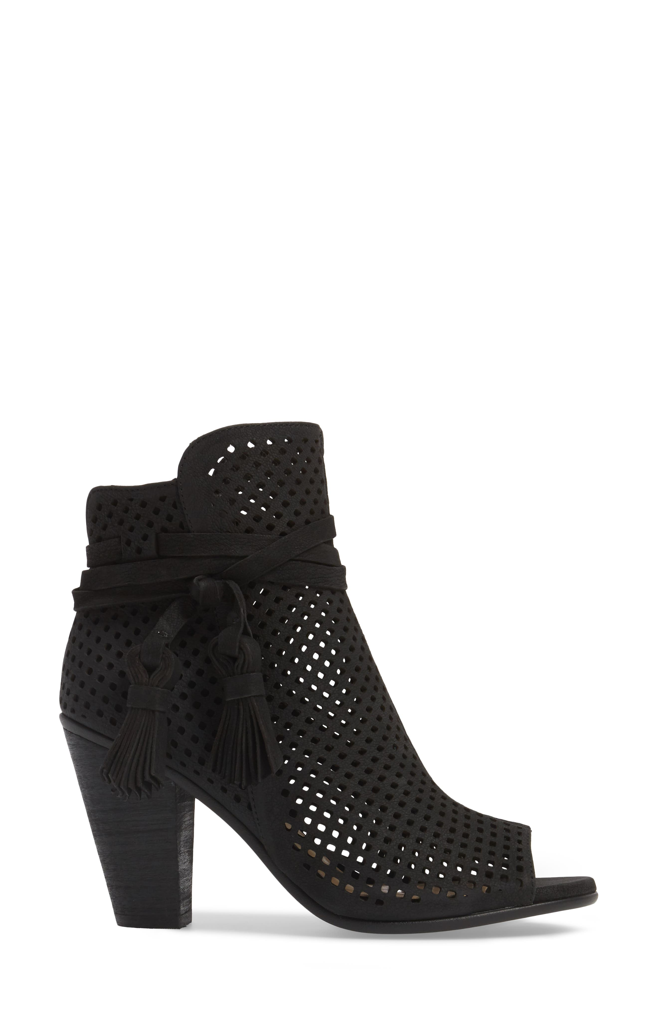 Kamey Perforated Open Toe Bootie,                             Alternate thumbnail 3, color,                             001
