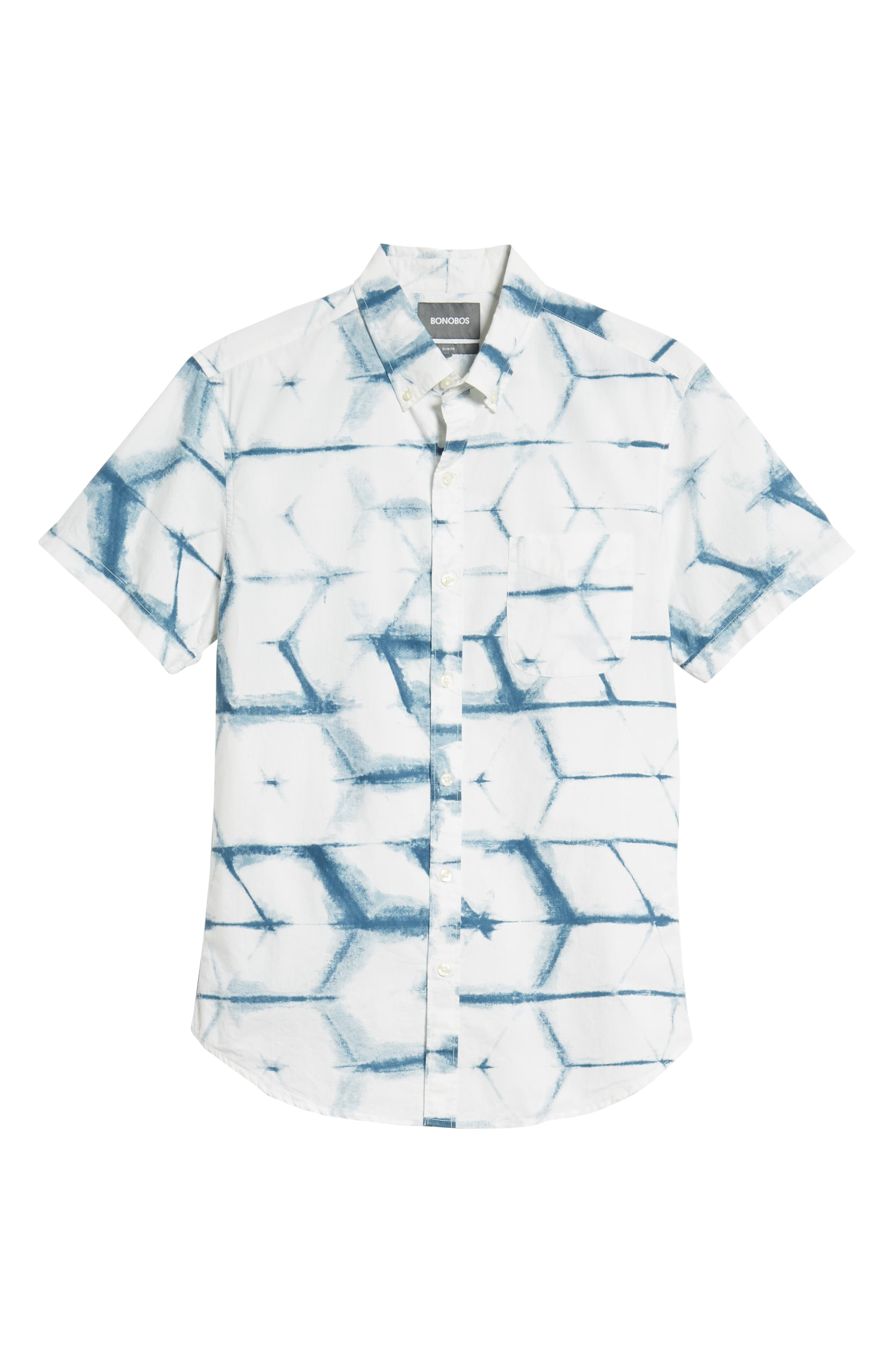 Riviera Slim Fit Print Sport Shirt,                             Alternate thumbnail 5, color,