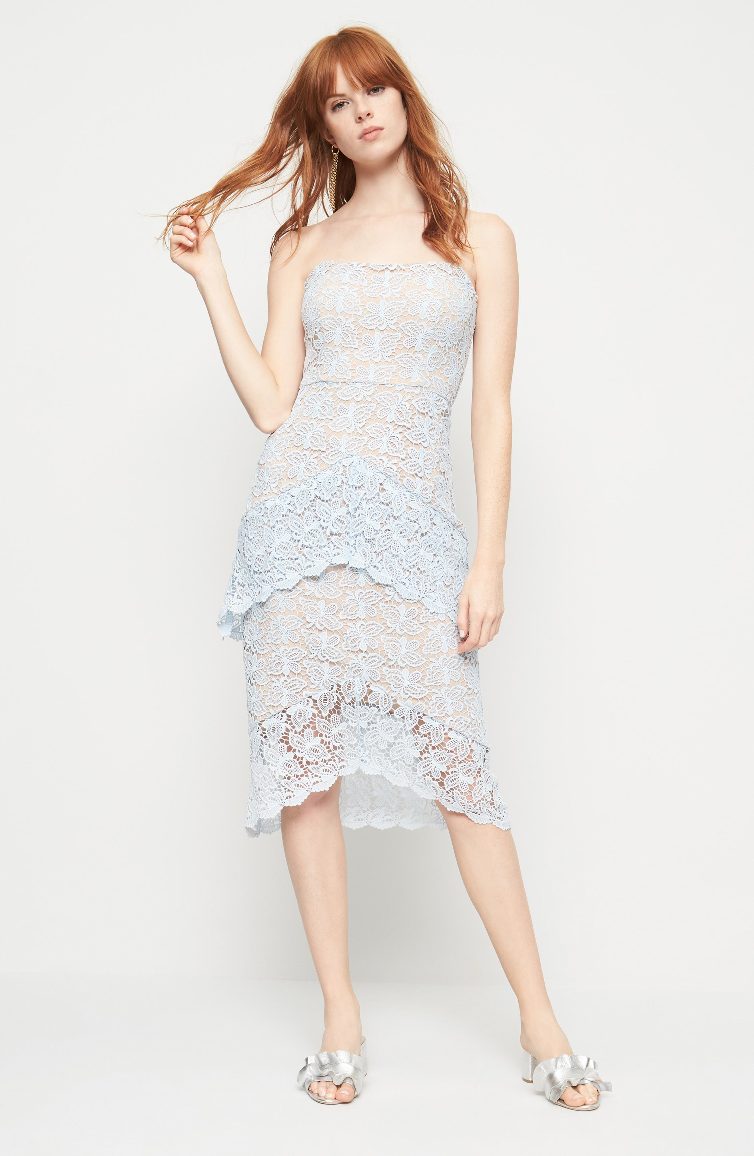 Taha Tiered Lace Midi Dress,                             Alternate thumbnail 6, color,                             452