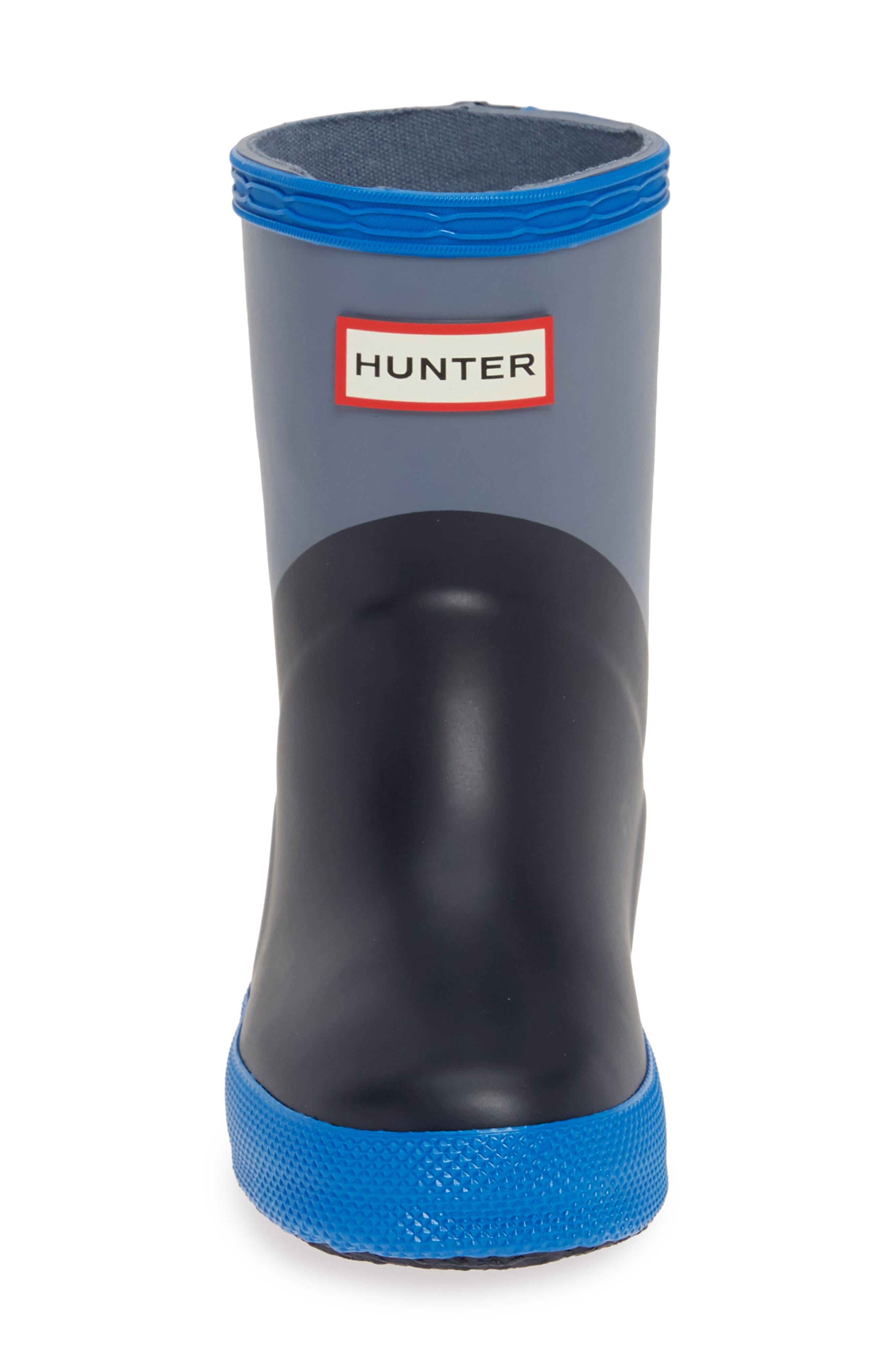 HUNTER,                             First Classic Waterproof Rain Boot,                             Alternate thumbnail 4, color,                             GULL GREY/ BUCKET BLUE/ NAVY
