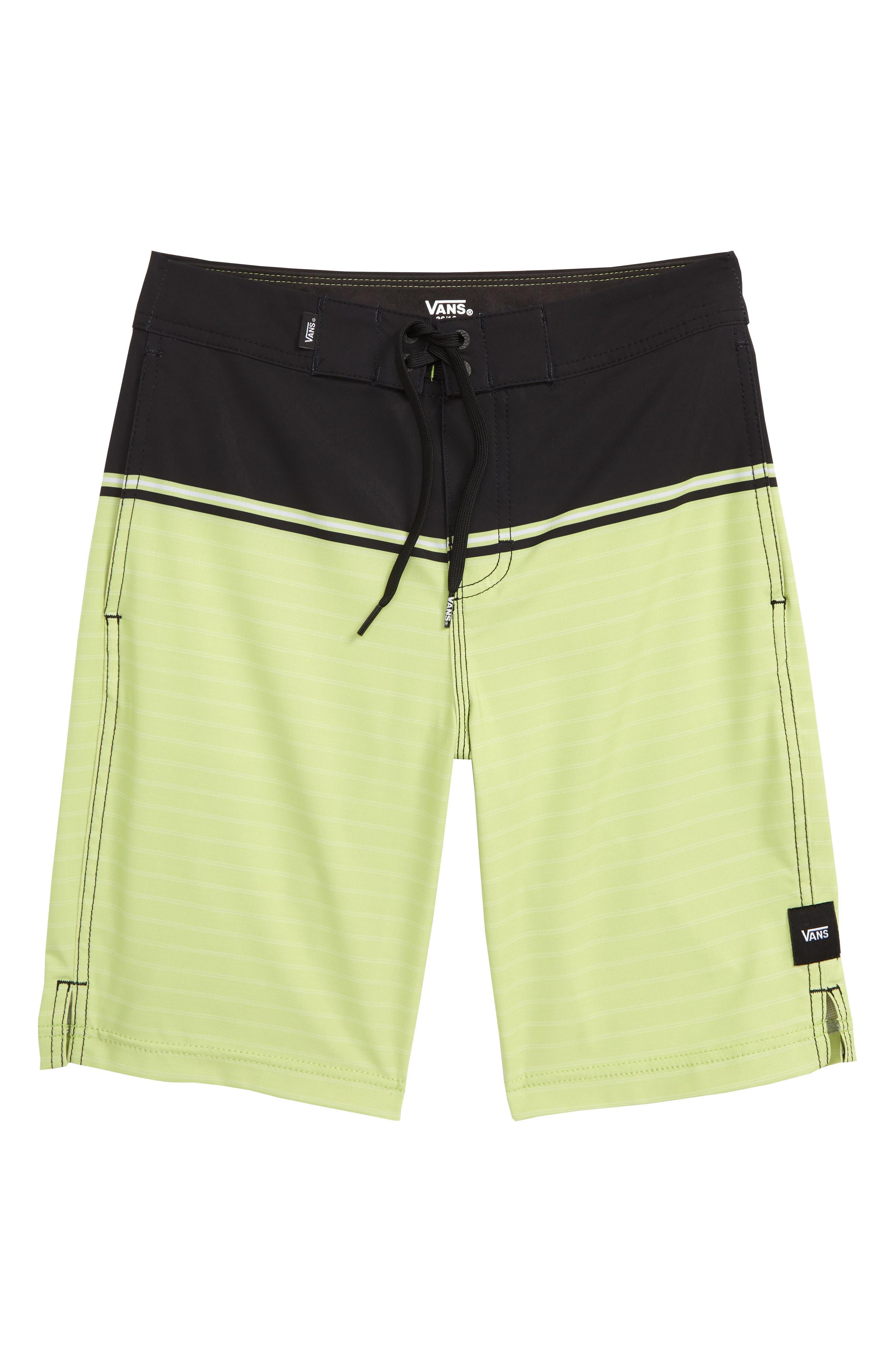VANS,                             Newland Board Shorts,                             Main thumbnail 1, color,                             BLACK/ SUNNY LIME
