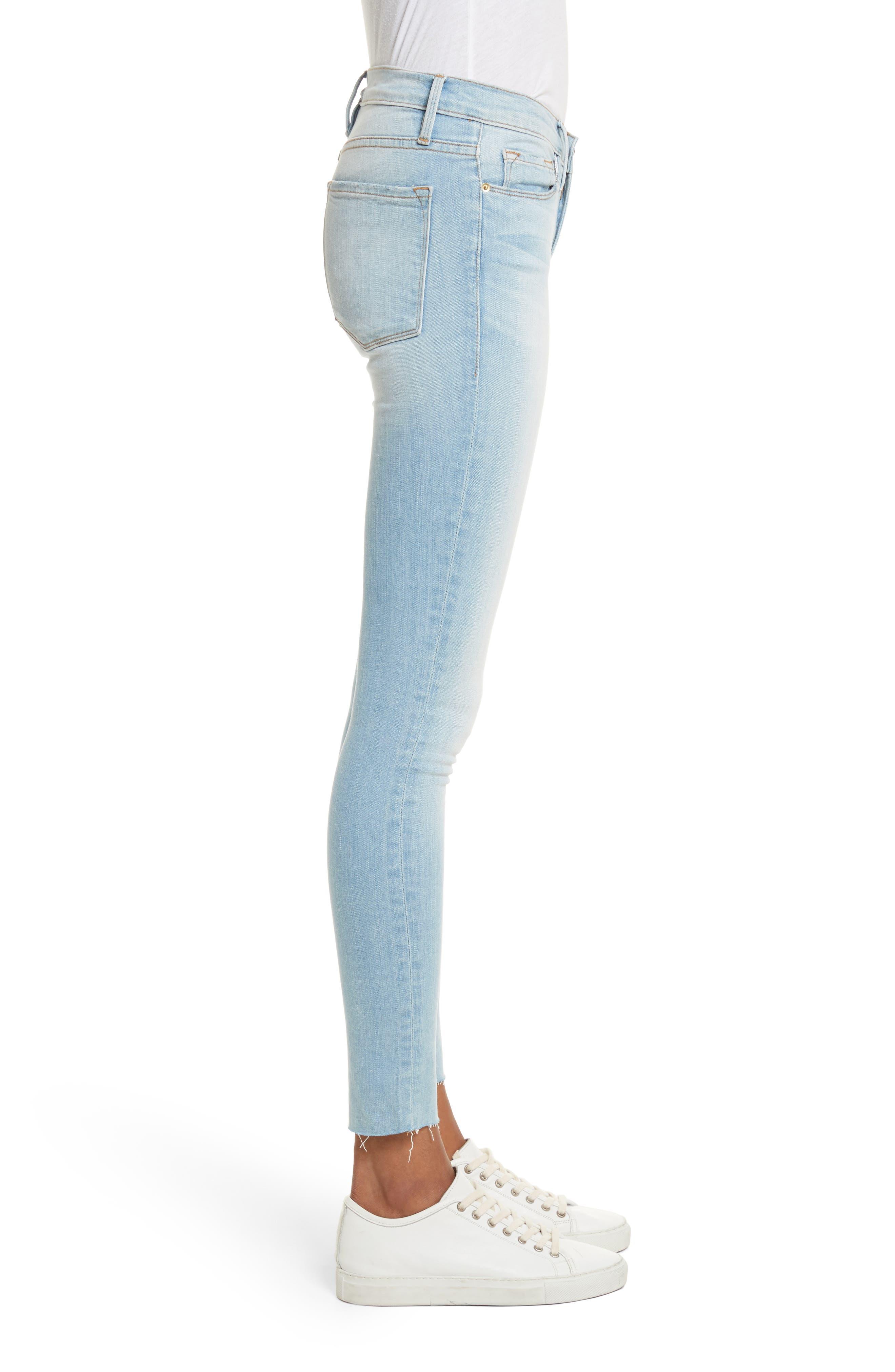 Le Skinny de Jeanne Raw Edge Skinny Jeans,                             Alternate thumbnail 3, color,                             450