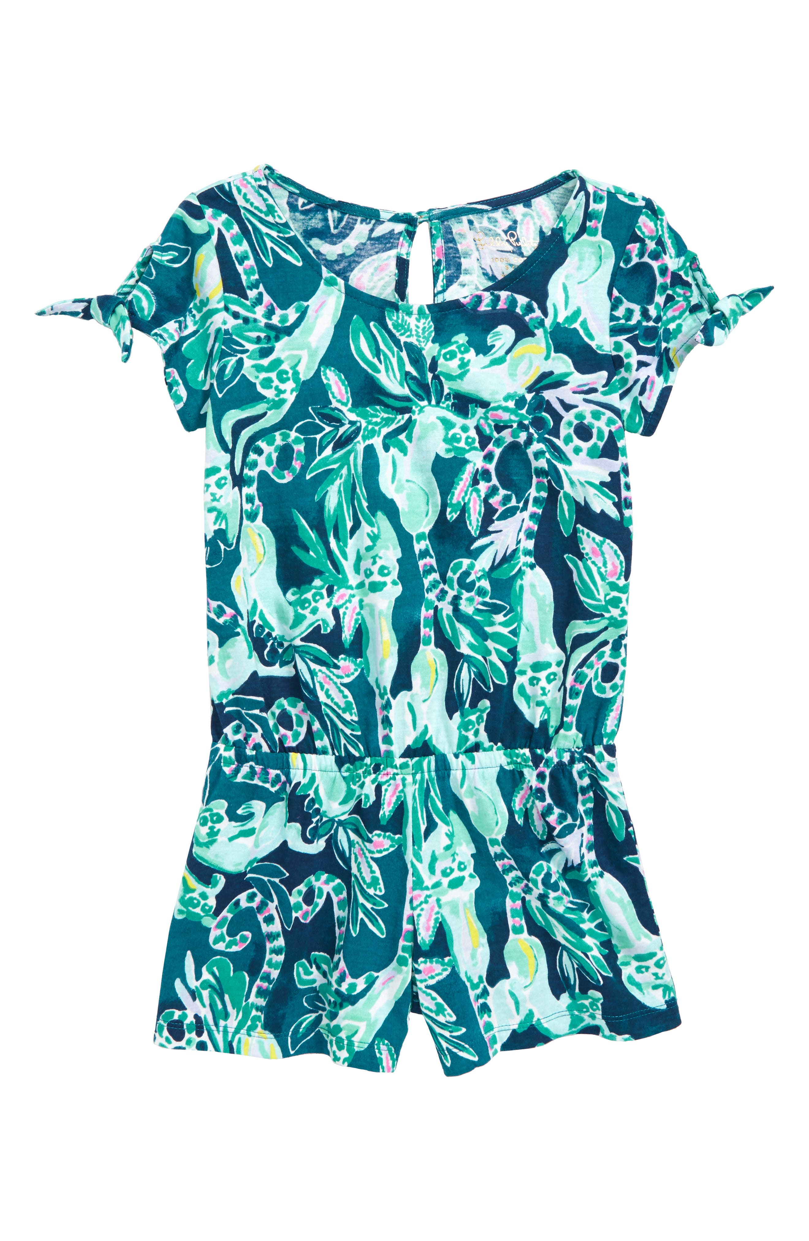 LILLY PULITZER<SUP>®</SUP>,                             Camryn Tie Sleeve Romper,                             Main thumbnail 1, color,                             406