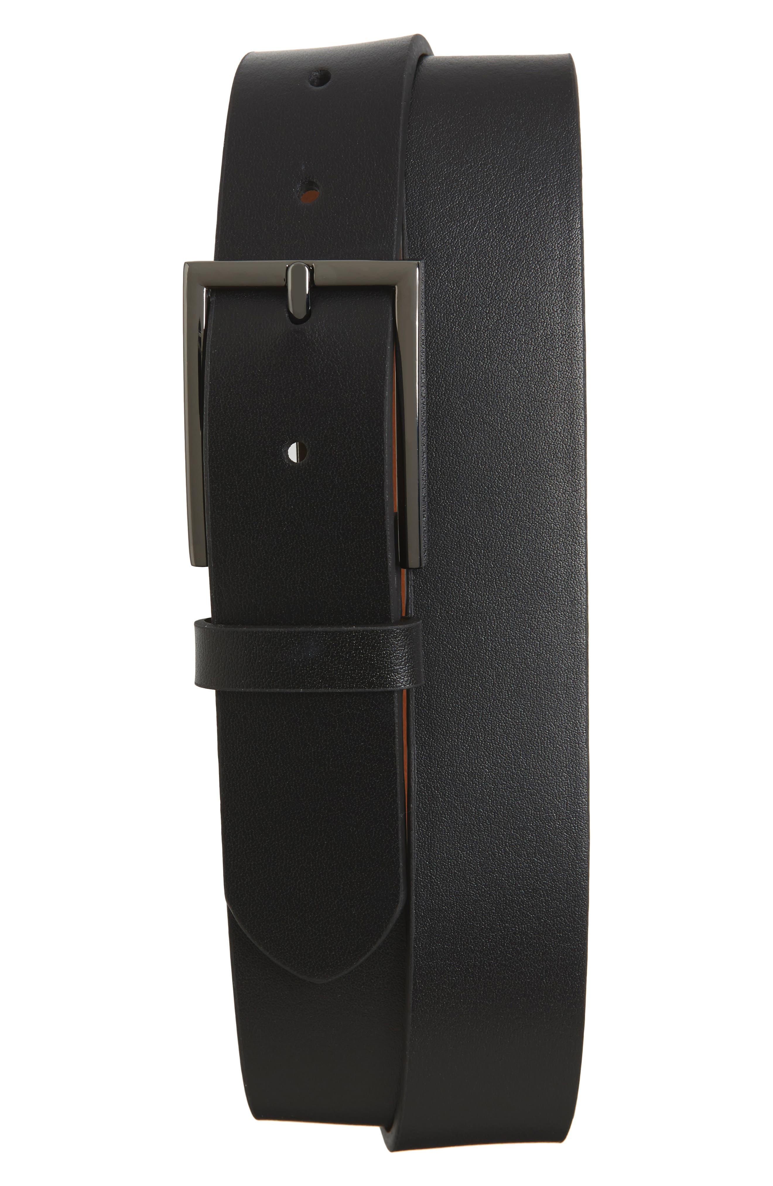 Victor Leather Belt,                         Main,                         color, BLACK