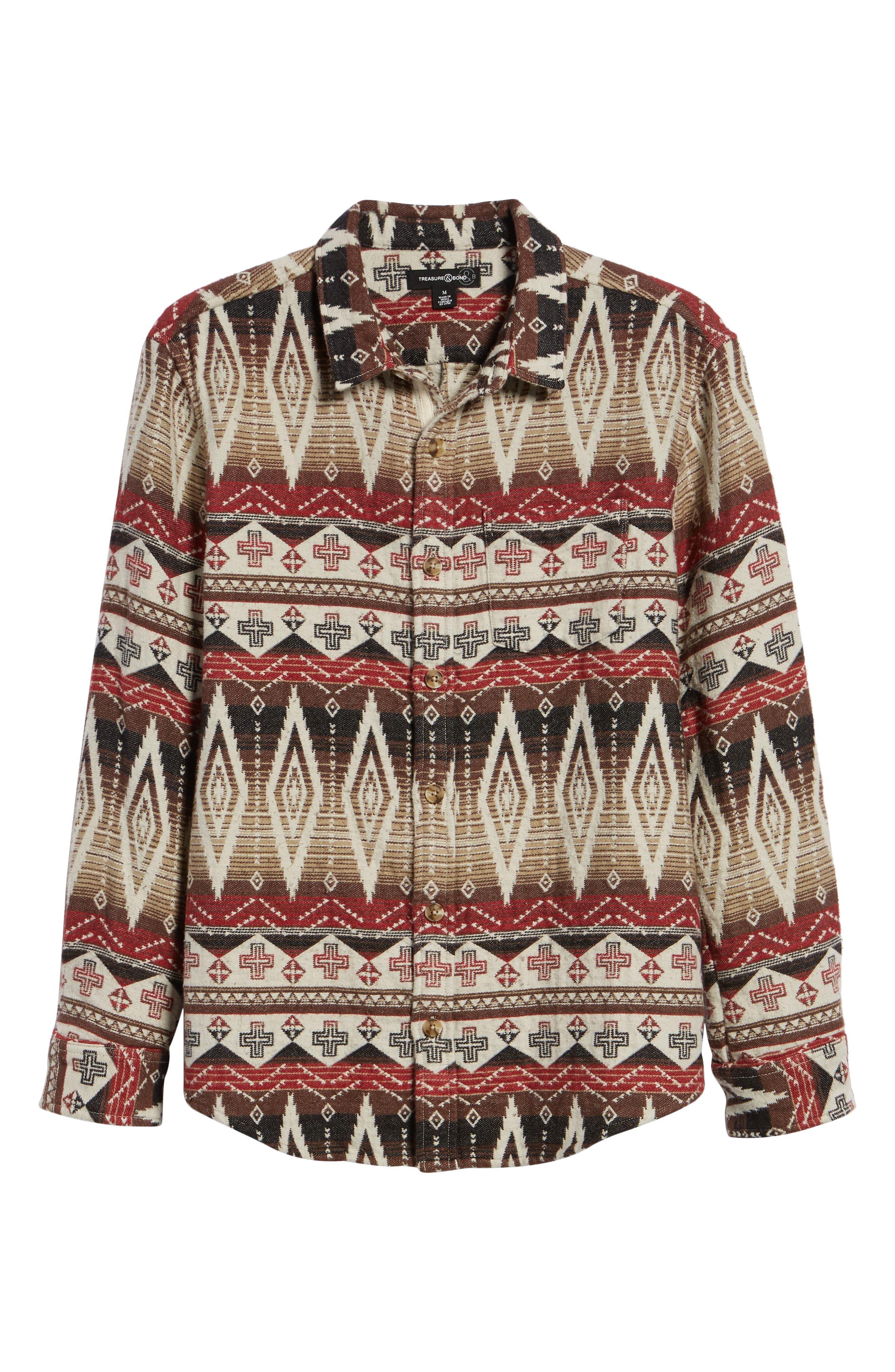 Geo Blanket Shirt Jacket,                             Alternate thumbnail 6, color,                             BEIGE RAINY DAY TRIBAL PRINT