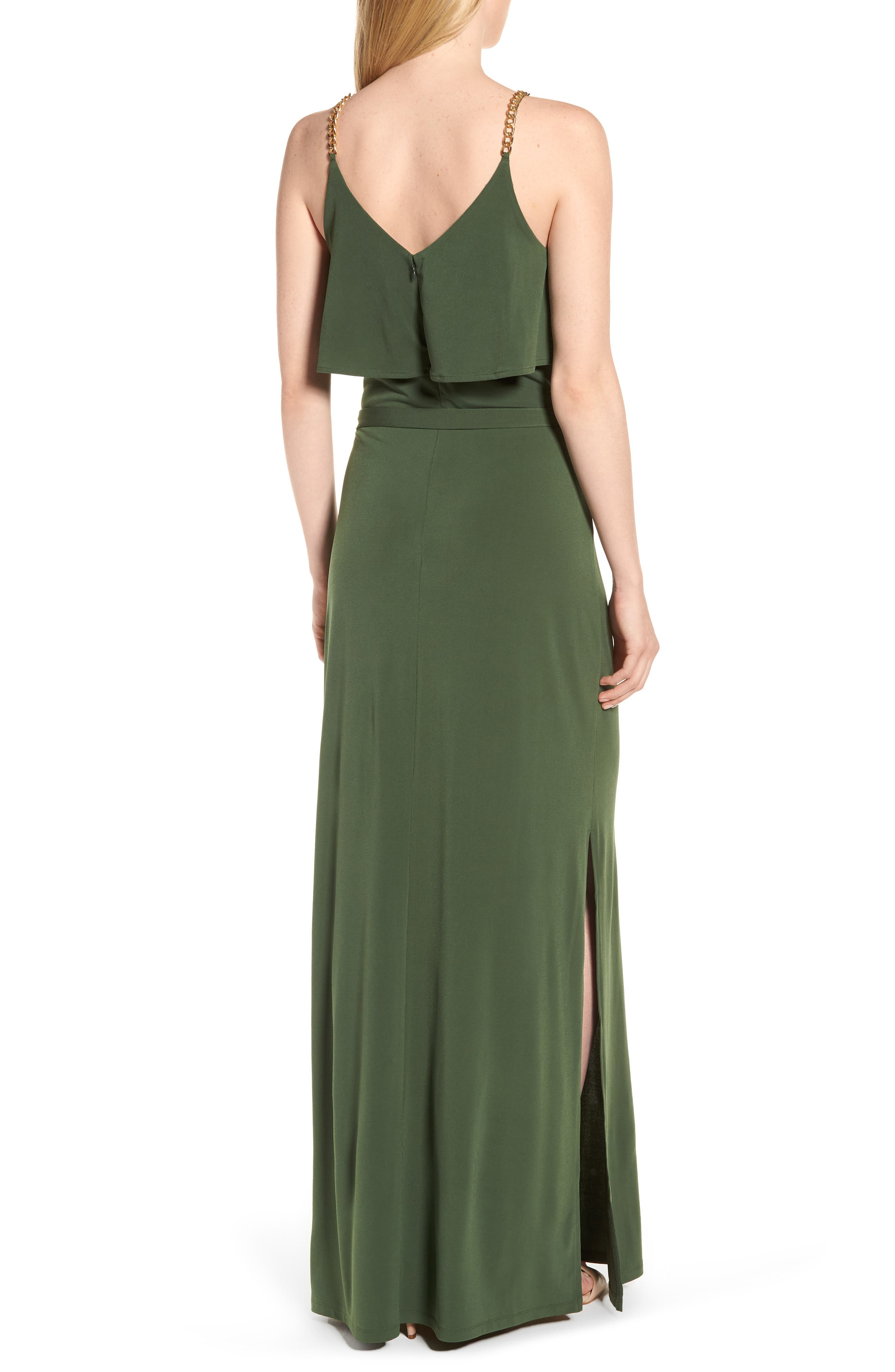 Chain Strap Popover Maxi Dress,                             Alternate thumbnail 2, color,